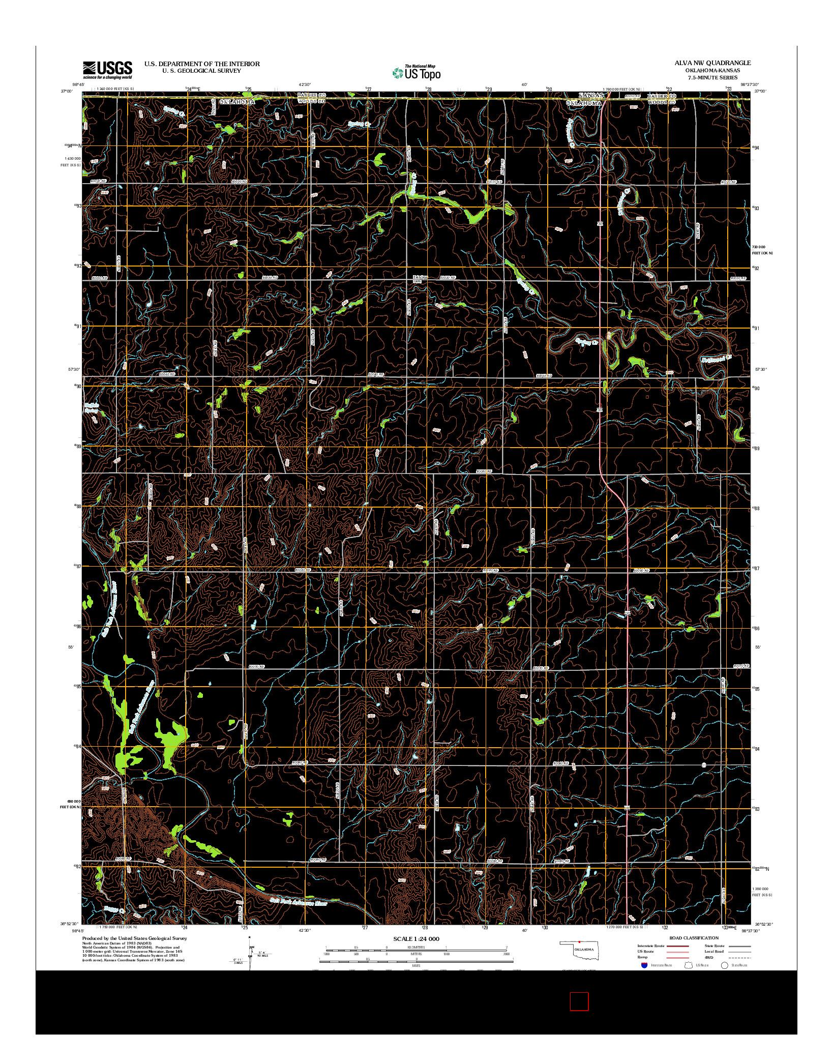 USGS US TOPO 7.5-MINUTE MAP FOR ALVA NW, OK-KS 2012