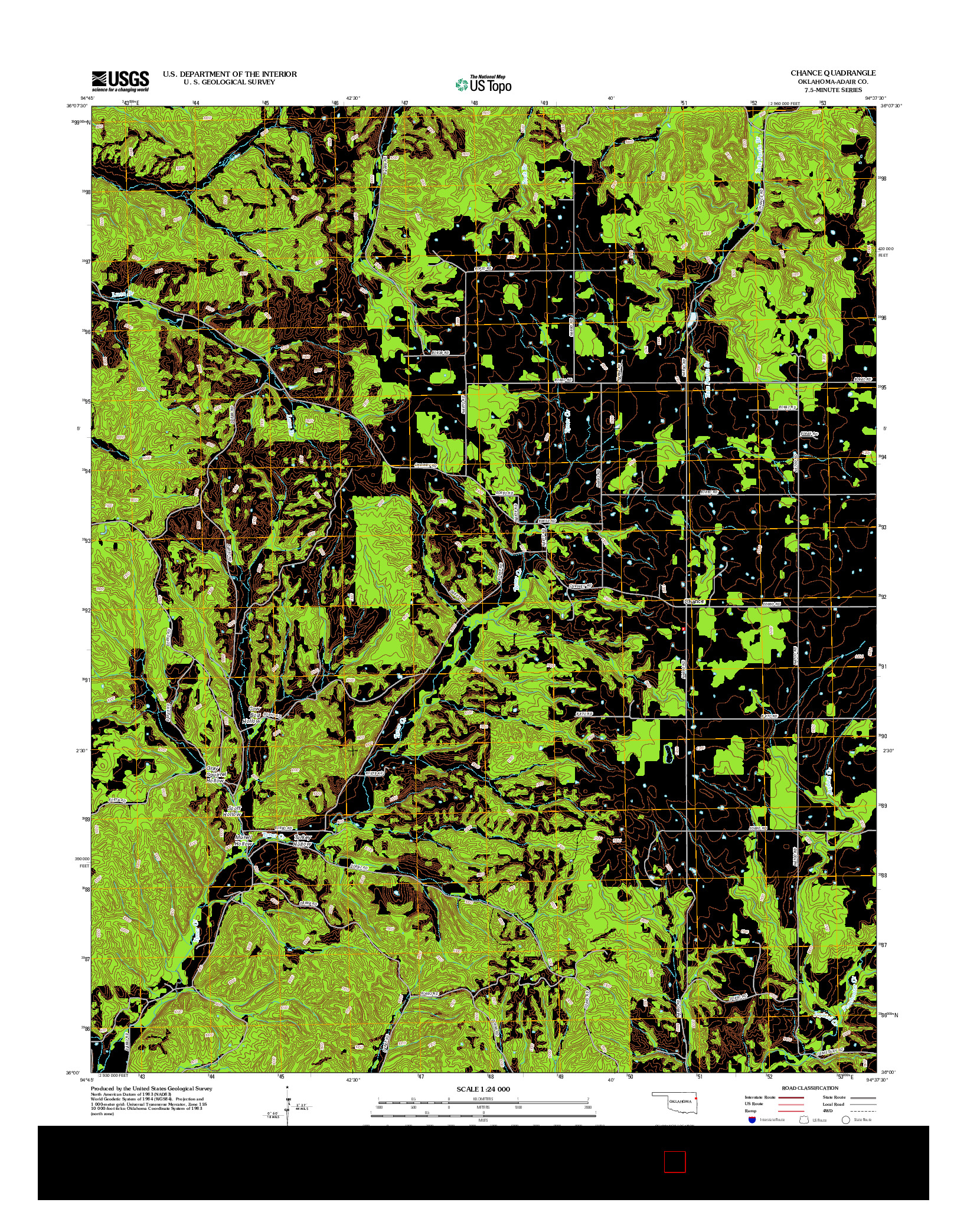 USGS US TOPO 7.5-MINUTE MAP FOR CHANCE, OK 2012