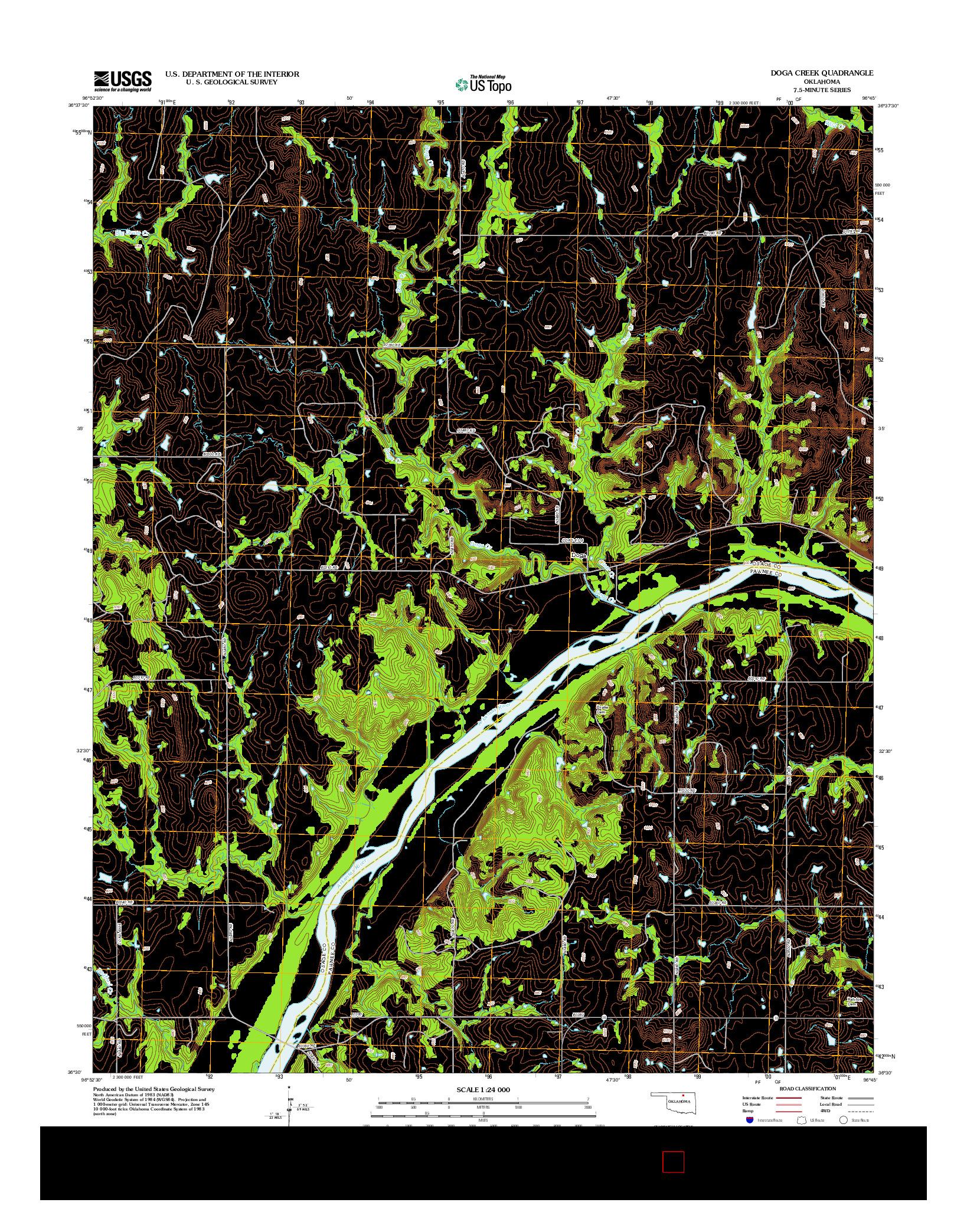 USGS US TOPO 7.5-MINUTE MAP FOR DOGA CREEK, OK 2012