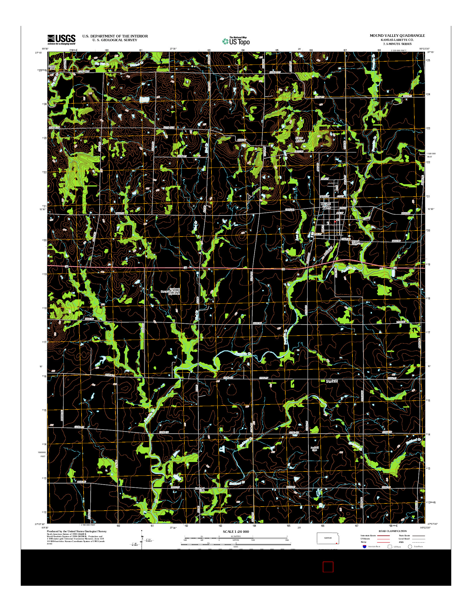 USGS US TOPO 7.5-MINUTE MAP FOR MOUND VALLEY, KS 2012