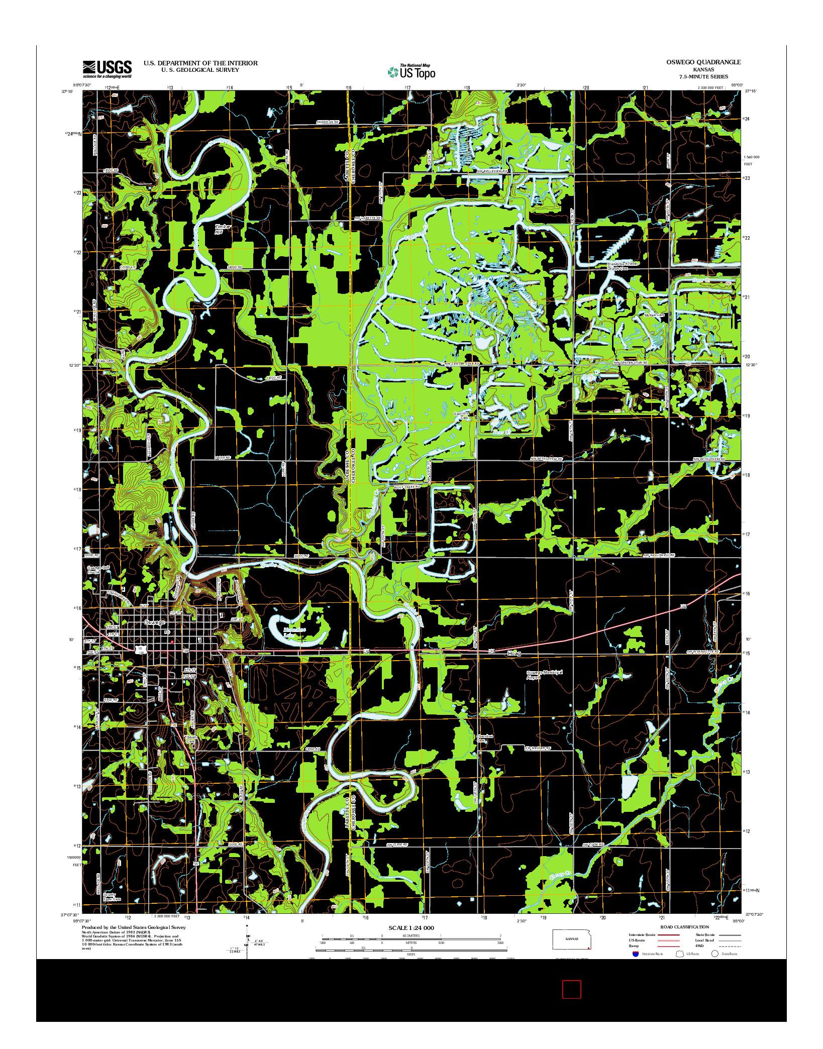USGS US TOPO 7.5-MINUTE MAP FOR OSWEGO, KS 2012