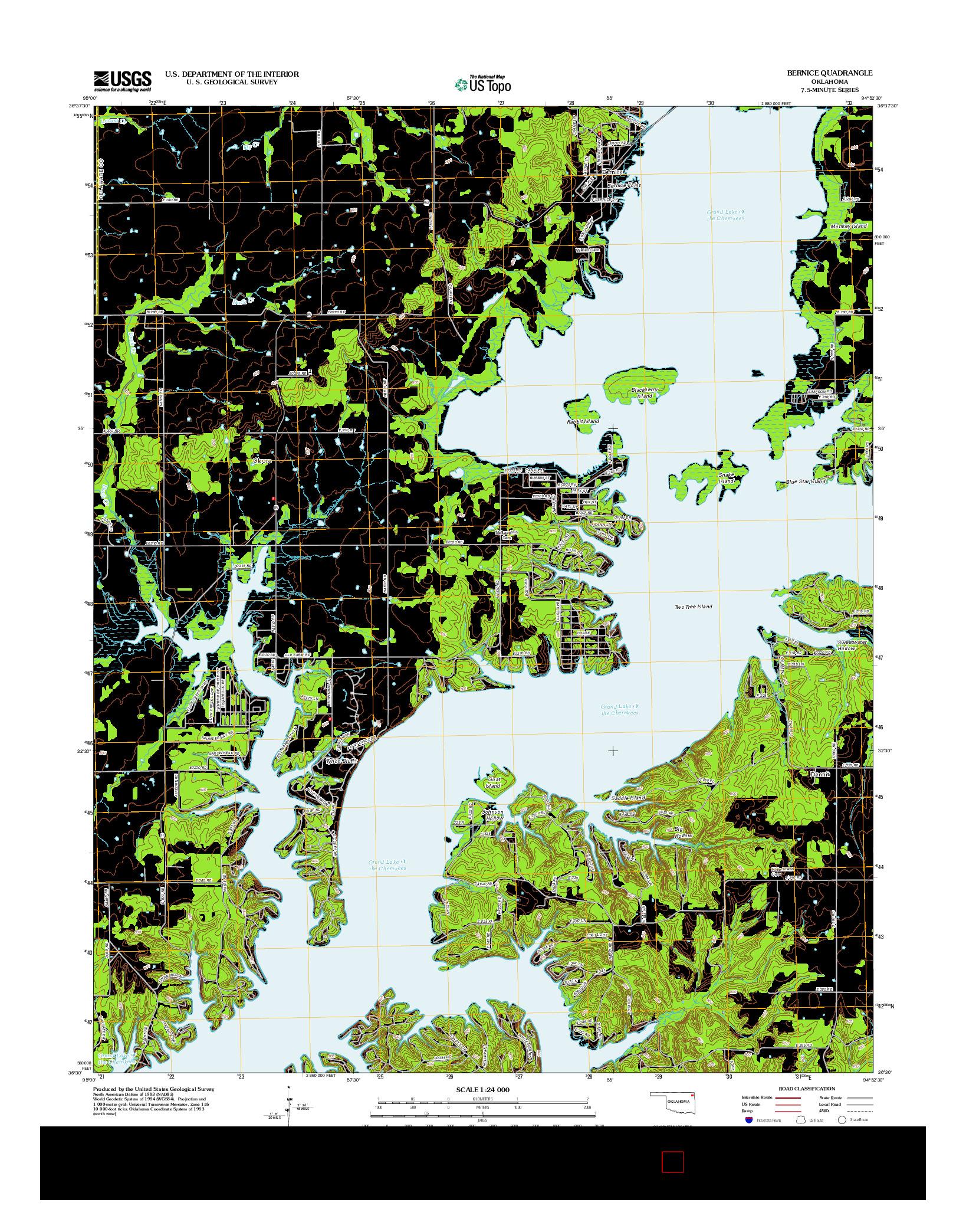 USGS US TOPO 7.5-MINUTE MAP FOR BERNICE, OK 2012