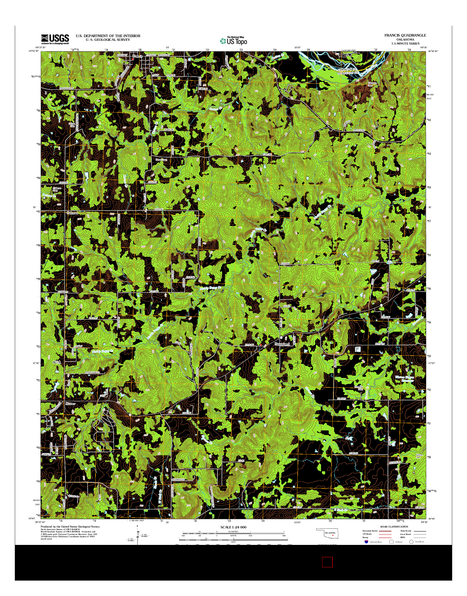 USGS US TOPO 7.5-MINUTE MAP FOR FRANCIS, OK 2012