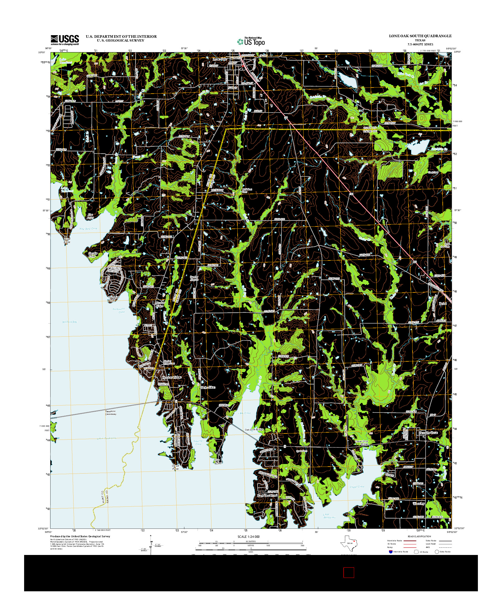 USGS US TOPO 7.5-MINUTE MAP FOR LONE OAK SOUTH, TX 2012