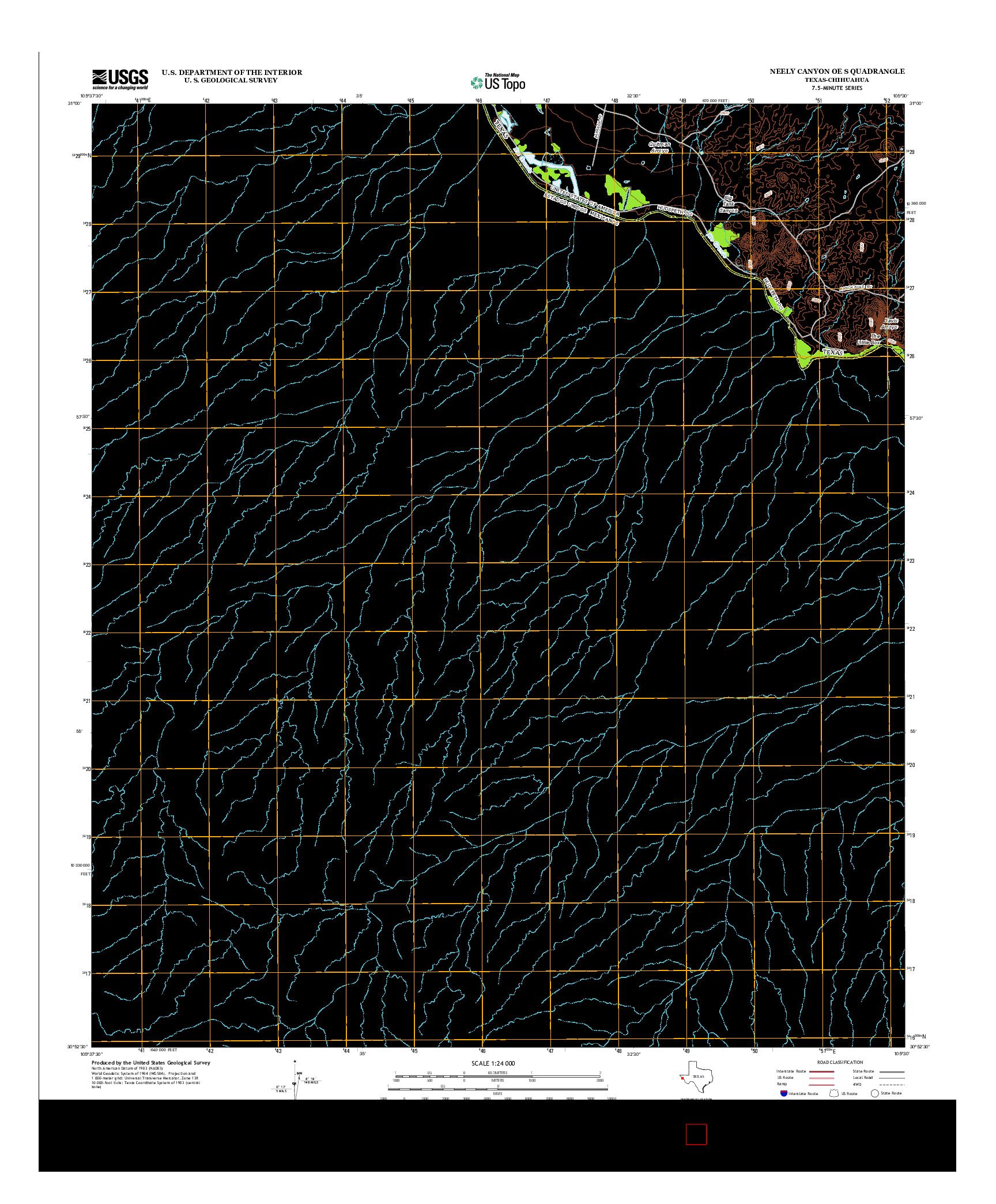 USGS US TOPO 7.5-MINUTE MAP FOR NEELY CANYON OE S, TX-CHH 2012