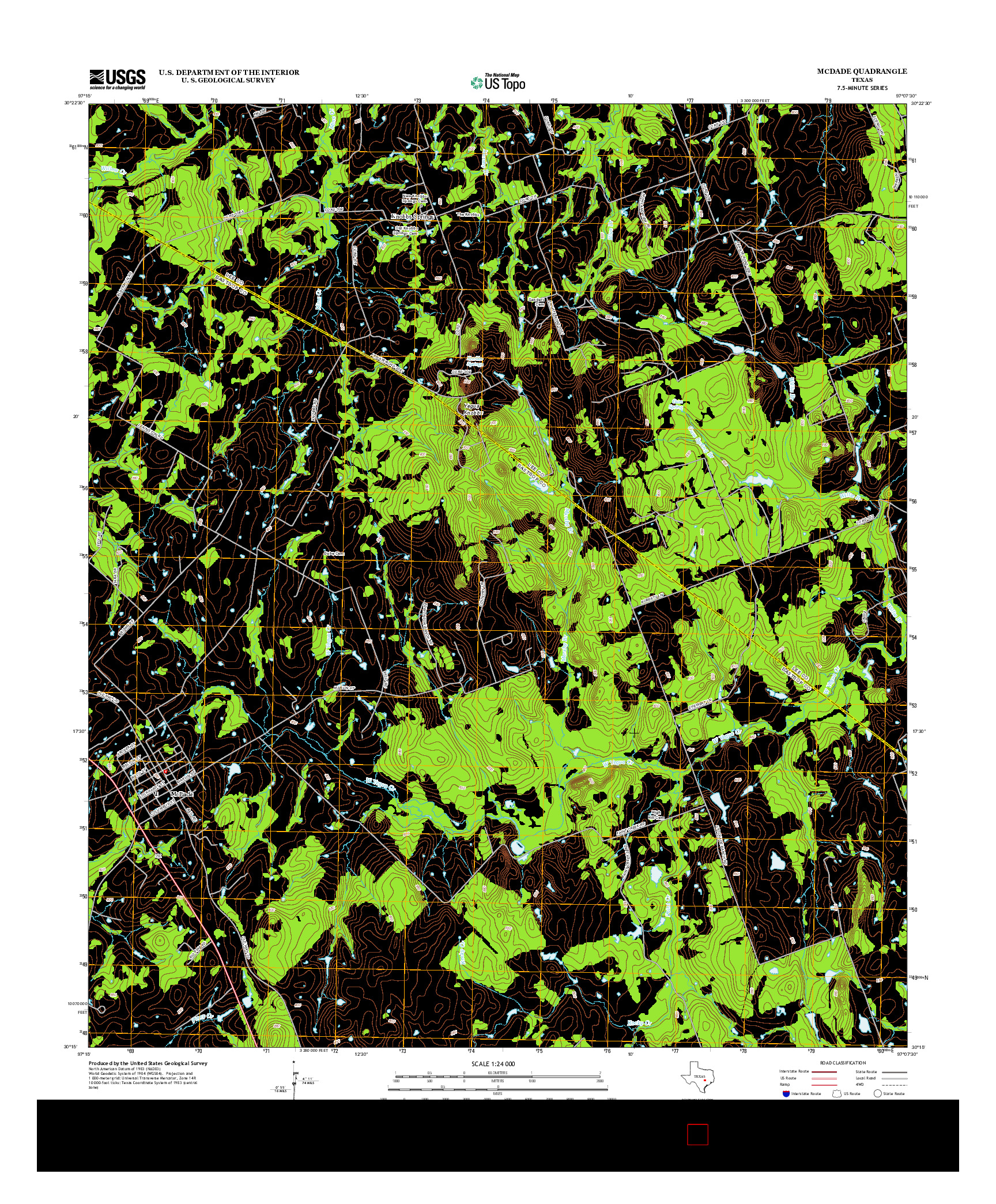 USGS US TOPO 7.5-MINUTE MAP FOR MCDADE, TX 2012