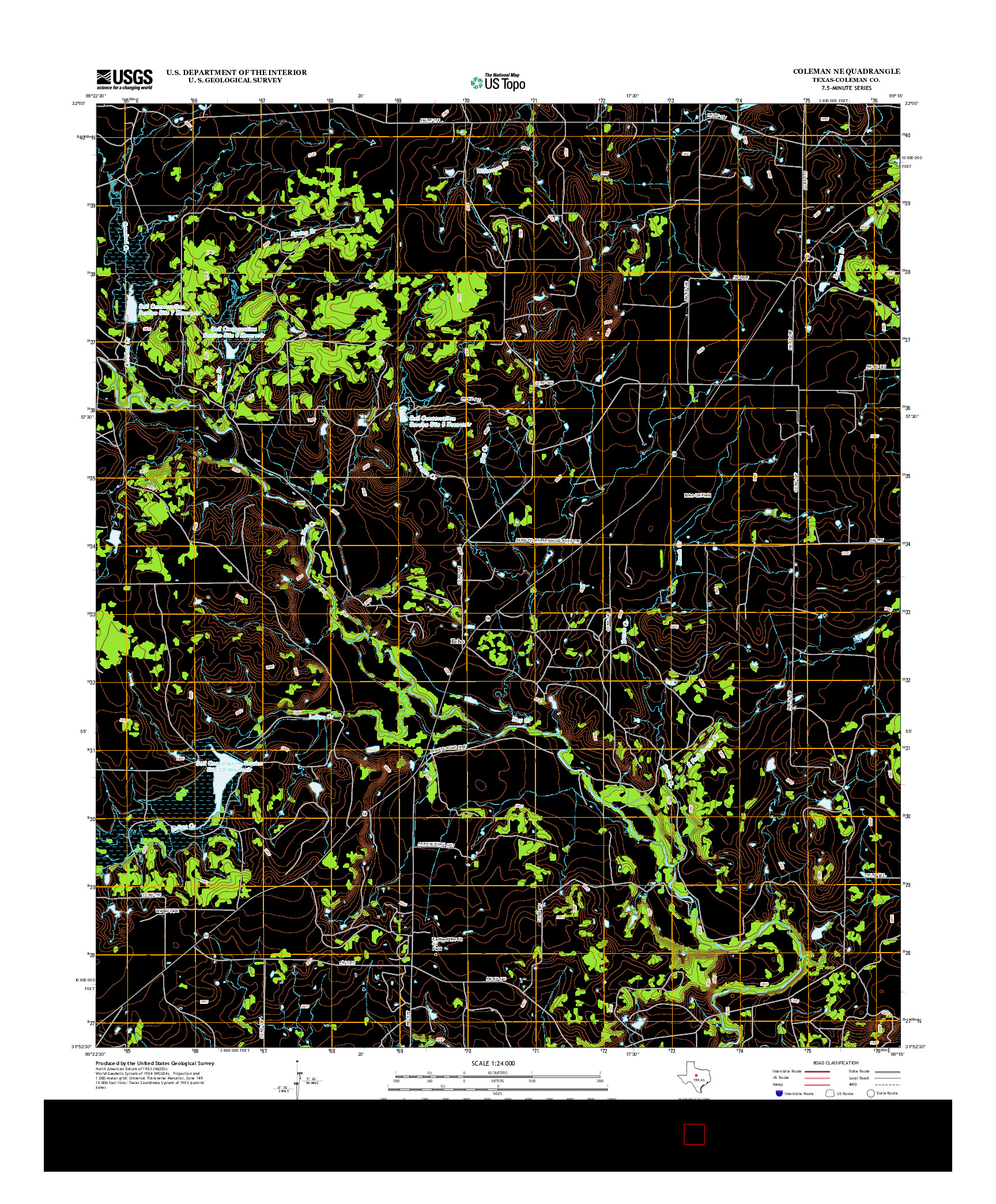 USGS US TOPO 7.5-MINUTE MAP FOR COLEMAN NE, TX 2012