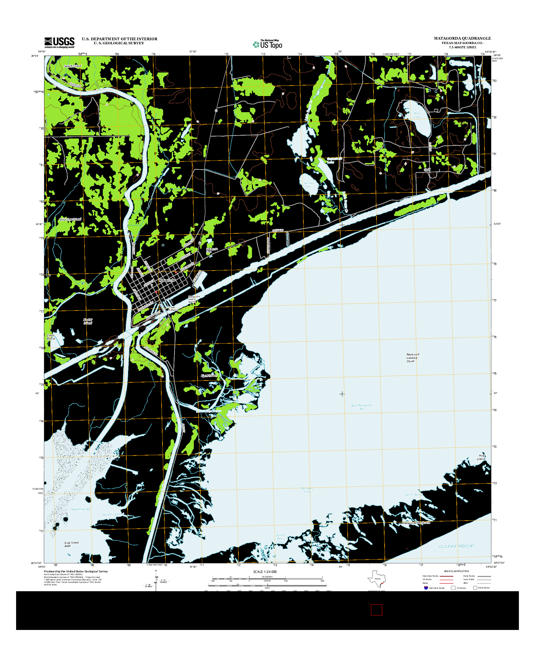USGS US TOPO 7.5-MINUTE MAP FOR MATAGORDA, TX 2013
