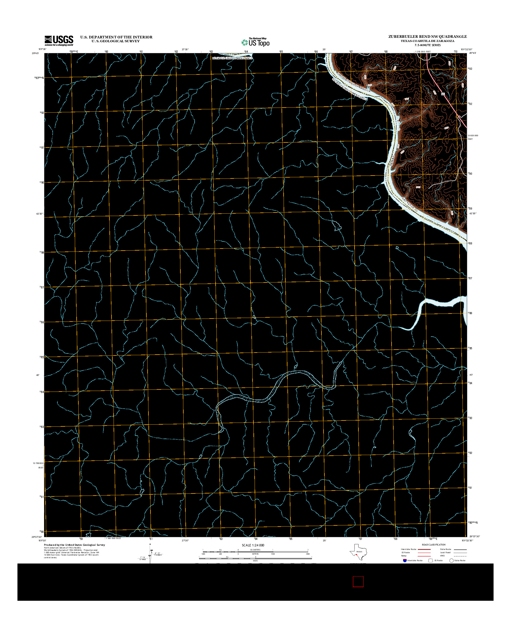 USGS US TOPO 7.5-MINUTE MAP FOR ZUBERBUELER BEND NW, TX-COA 2013