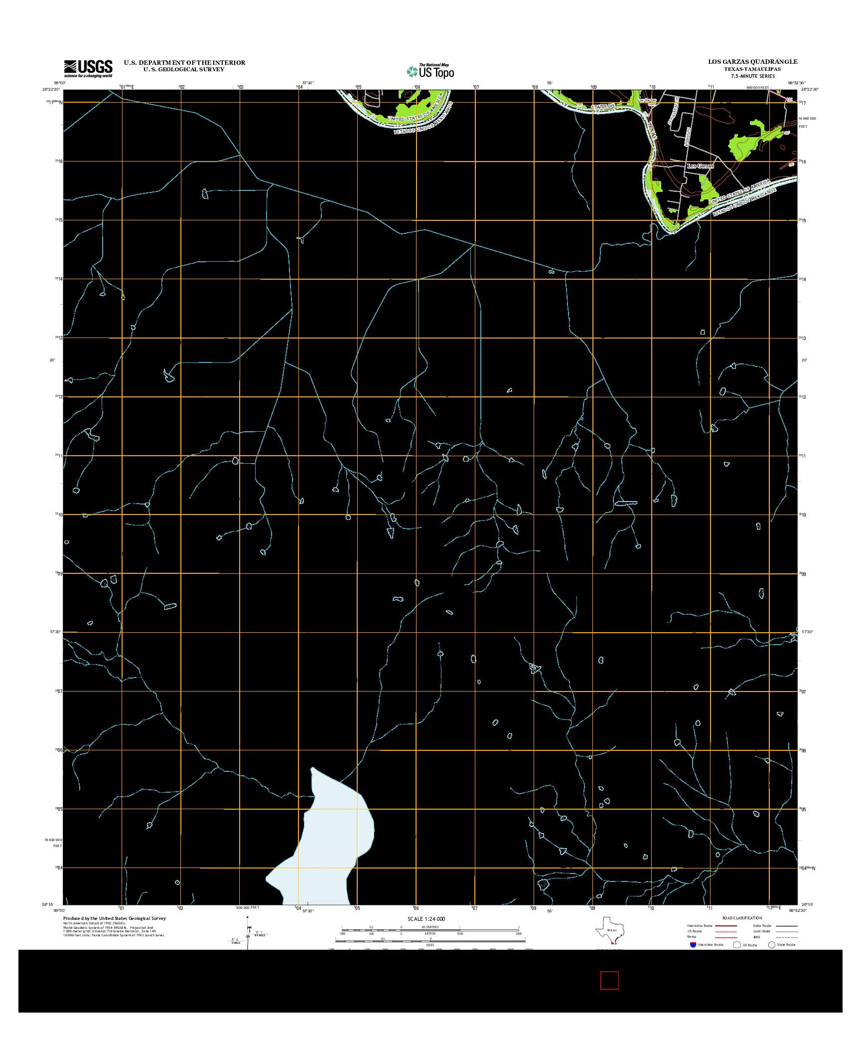USGS US TOPO 7.5-MINUTE MAP FOR LOS GARZAS, TX-TAM 2013