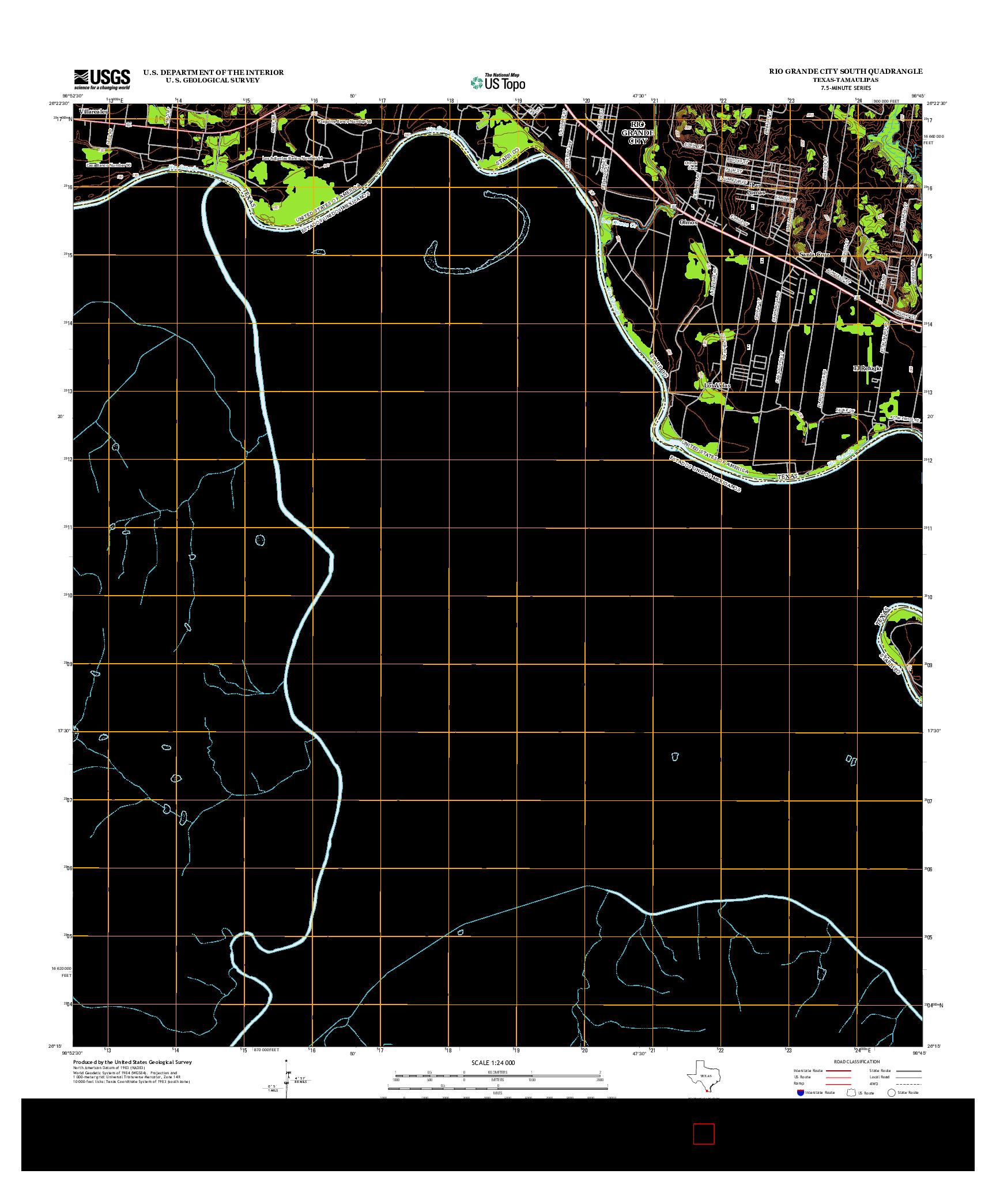 USGS US TOPO 7.5-MINUTE MAP FOR RIO GRANDE CITY SOUTH, TX-TAM 2013