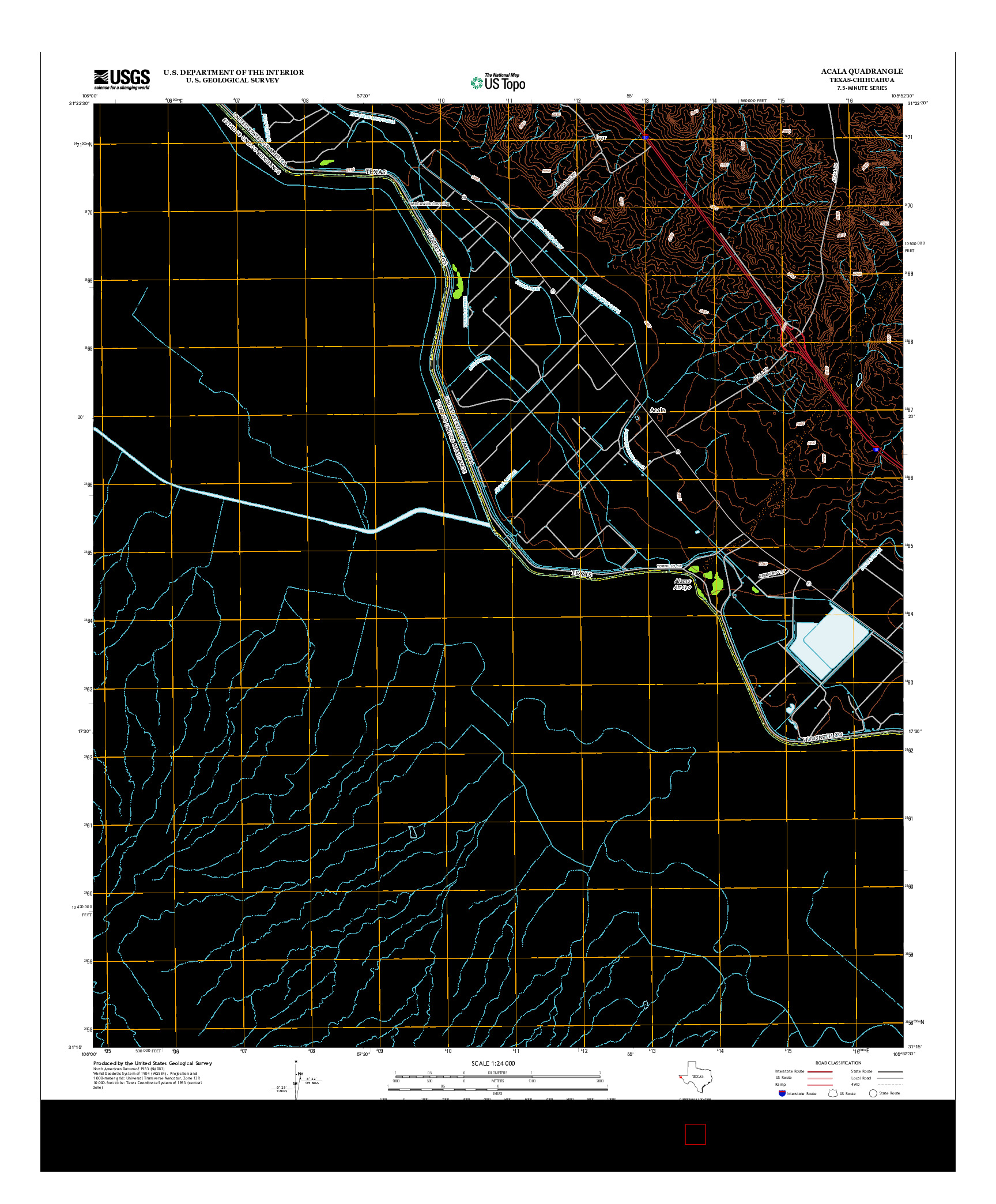 USGS US TOPO 7.5-MINUTE MAP FOR ACALA, TX-CHH 2013