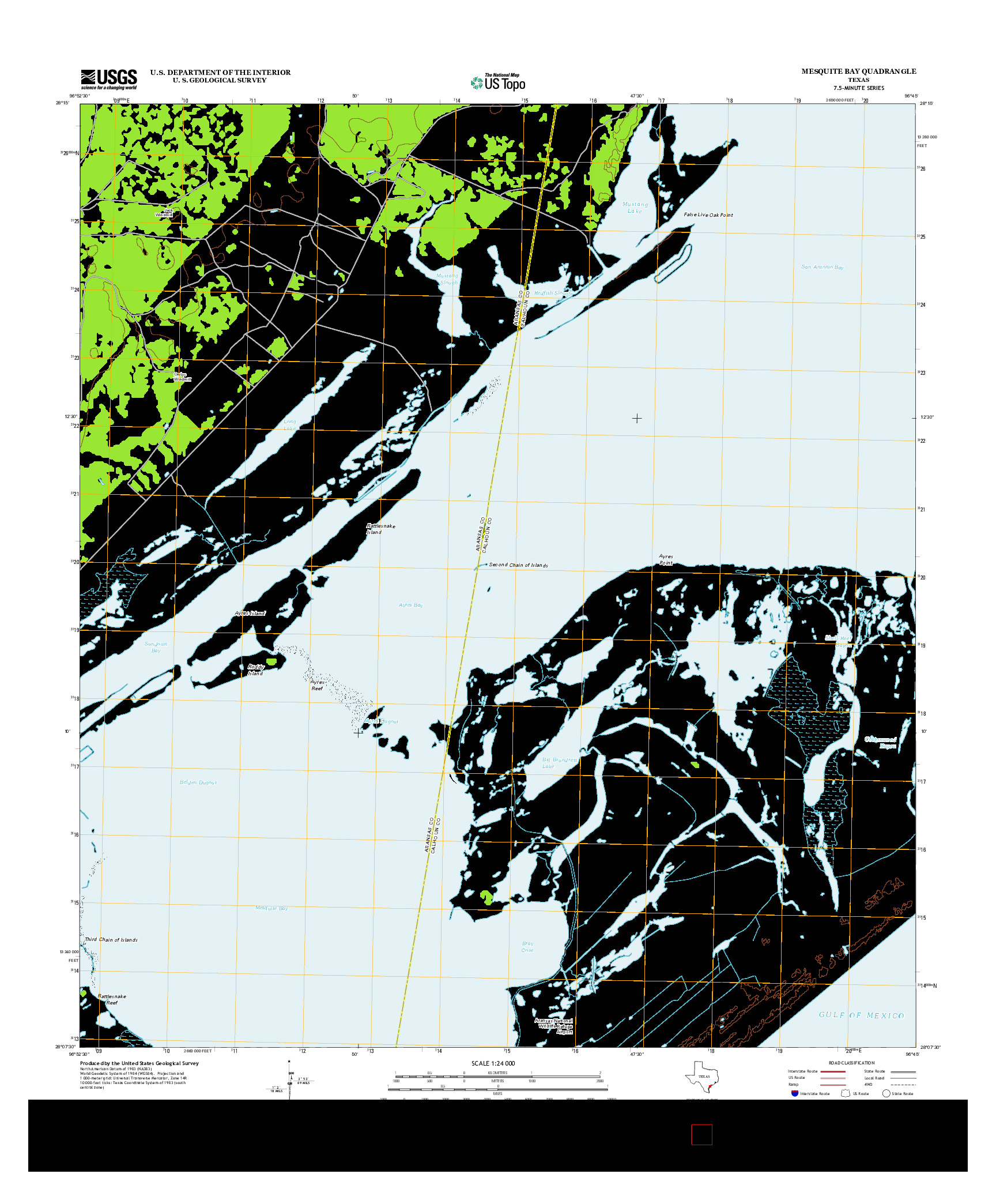 USGS US TOPO 7.5-MINUTE MAP FOR MESQUITE BAY, TX 2013