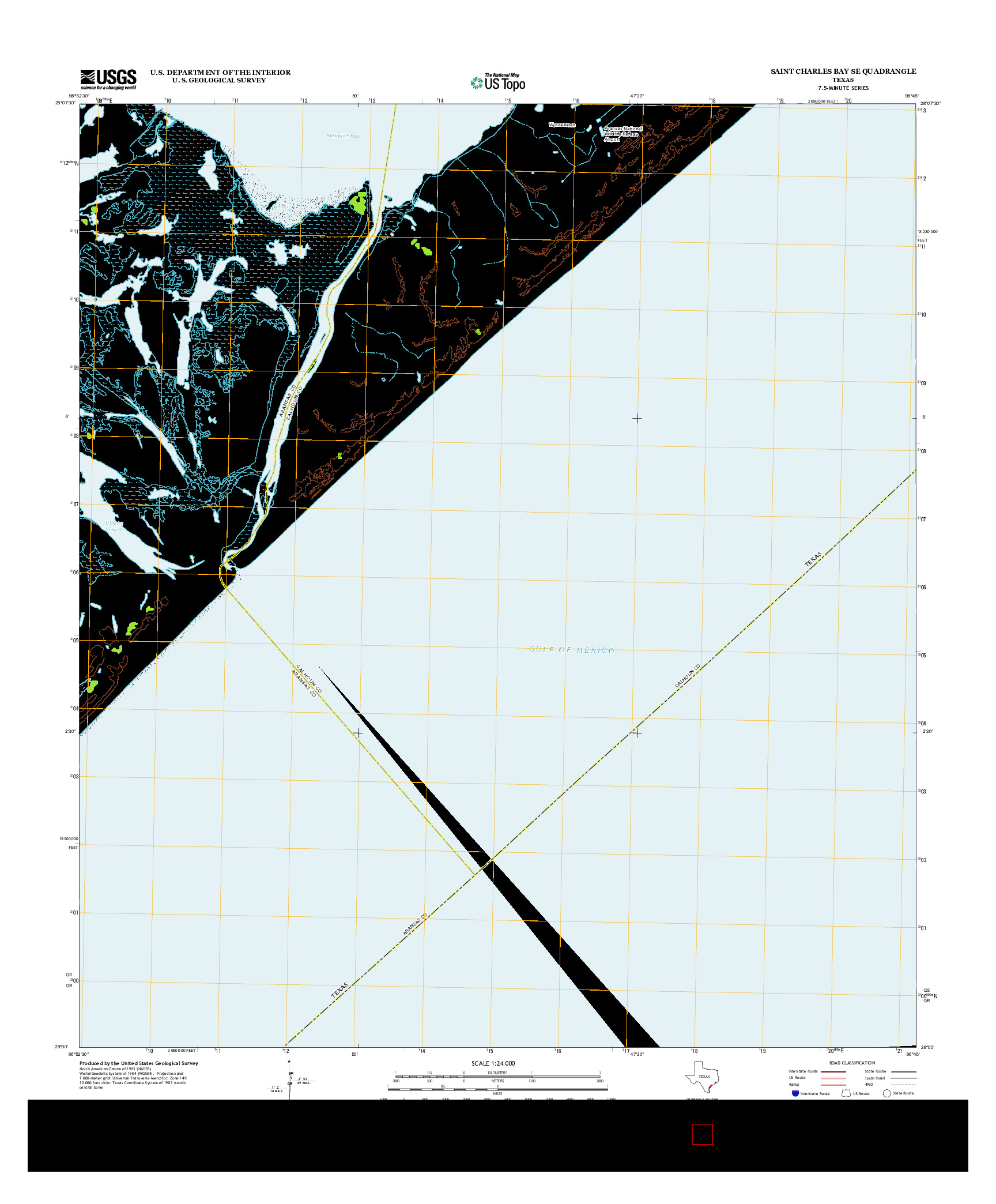 USGS US TOPO 7.5-MINUTE MAP FOR SAINT CHARLES BAY SE, TX 2013