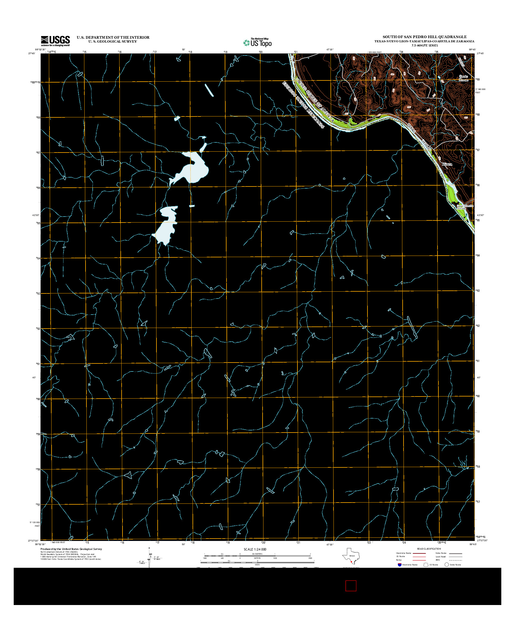 USGS US TOPO 7.5-MINUTE MAP FOR SOUTH OF SAN PEDRO HILL, TX-NLE-TAM-COA 2013