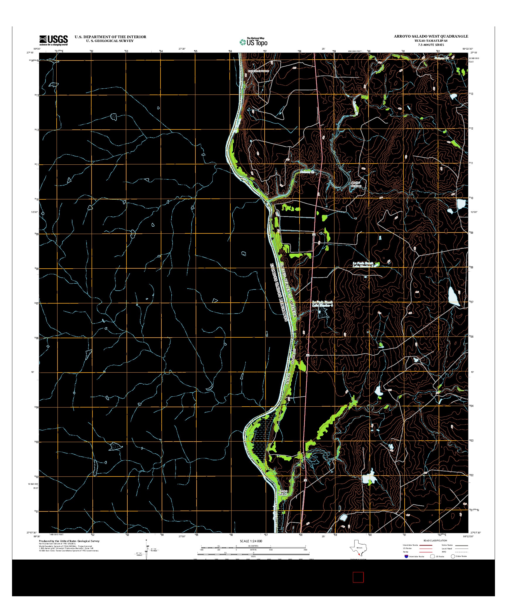 USGS US TOPO 7.5-MINUTE MAP FOR ARROYO SALADO WEST, TX-TAM 2013