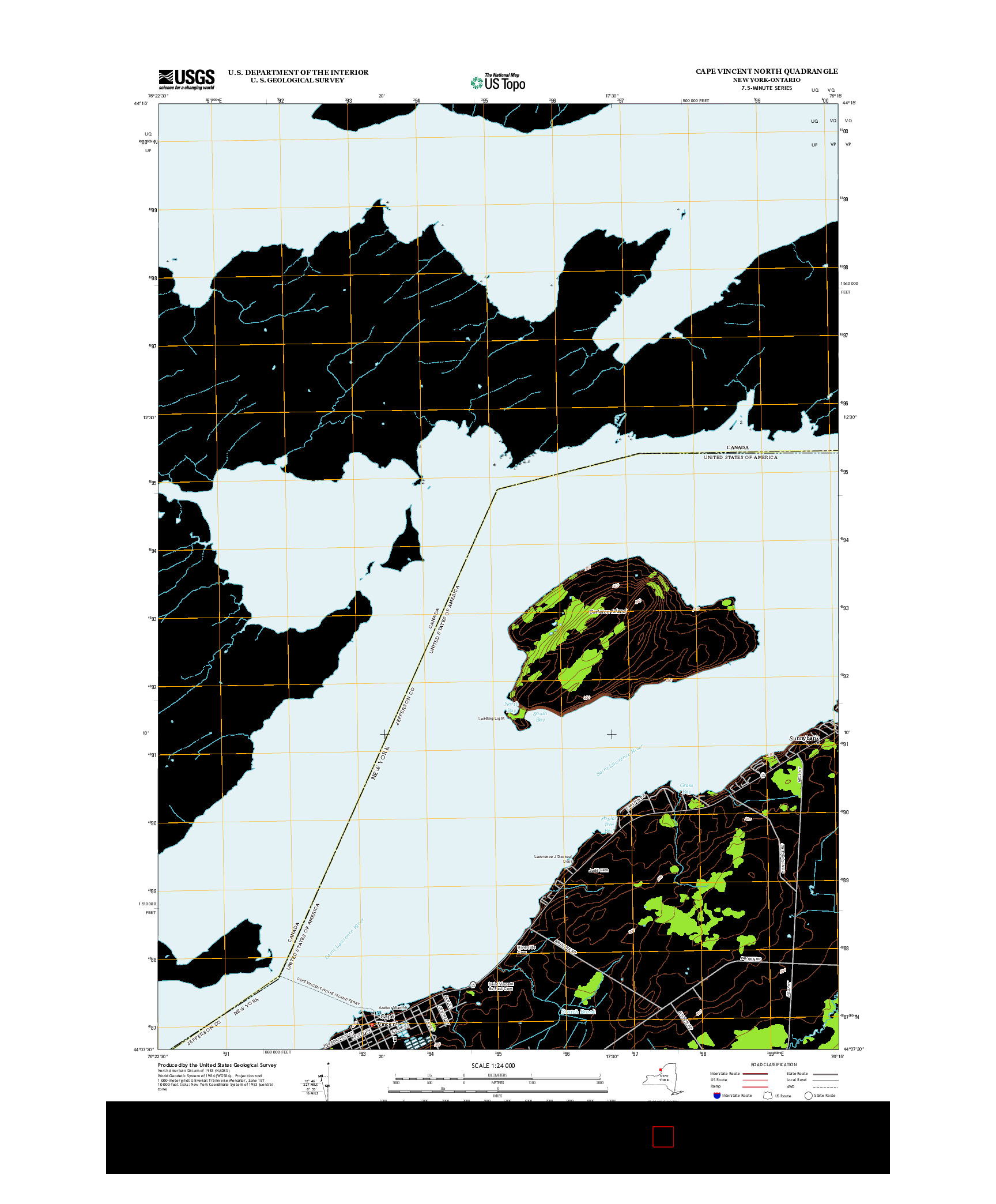 USGS US TOPO 7.5-MINUTE MAP FOR CAPE VINCENT NORTH, NY-ON 2013
