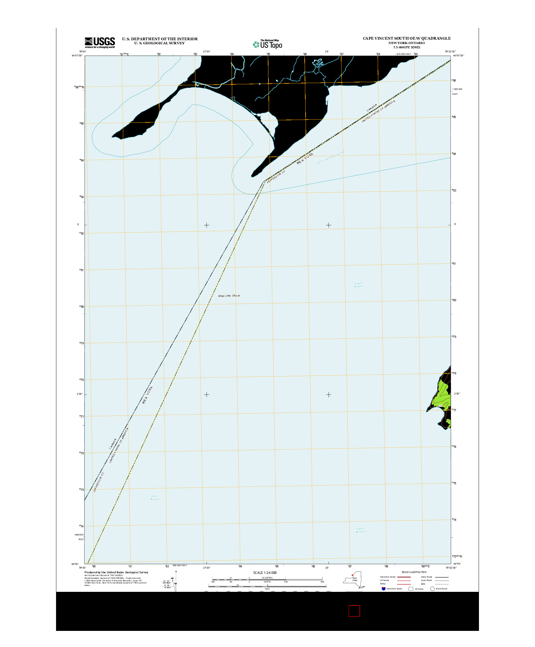 USGS US TOPO 7.5-MINUTE MAP FOR CAPE VINCENT SOUTH OE W, NY-ON 2013