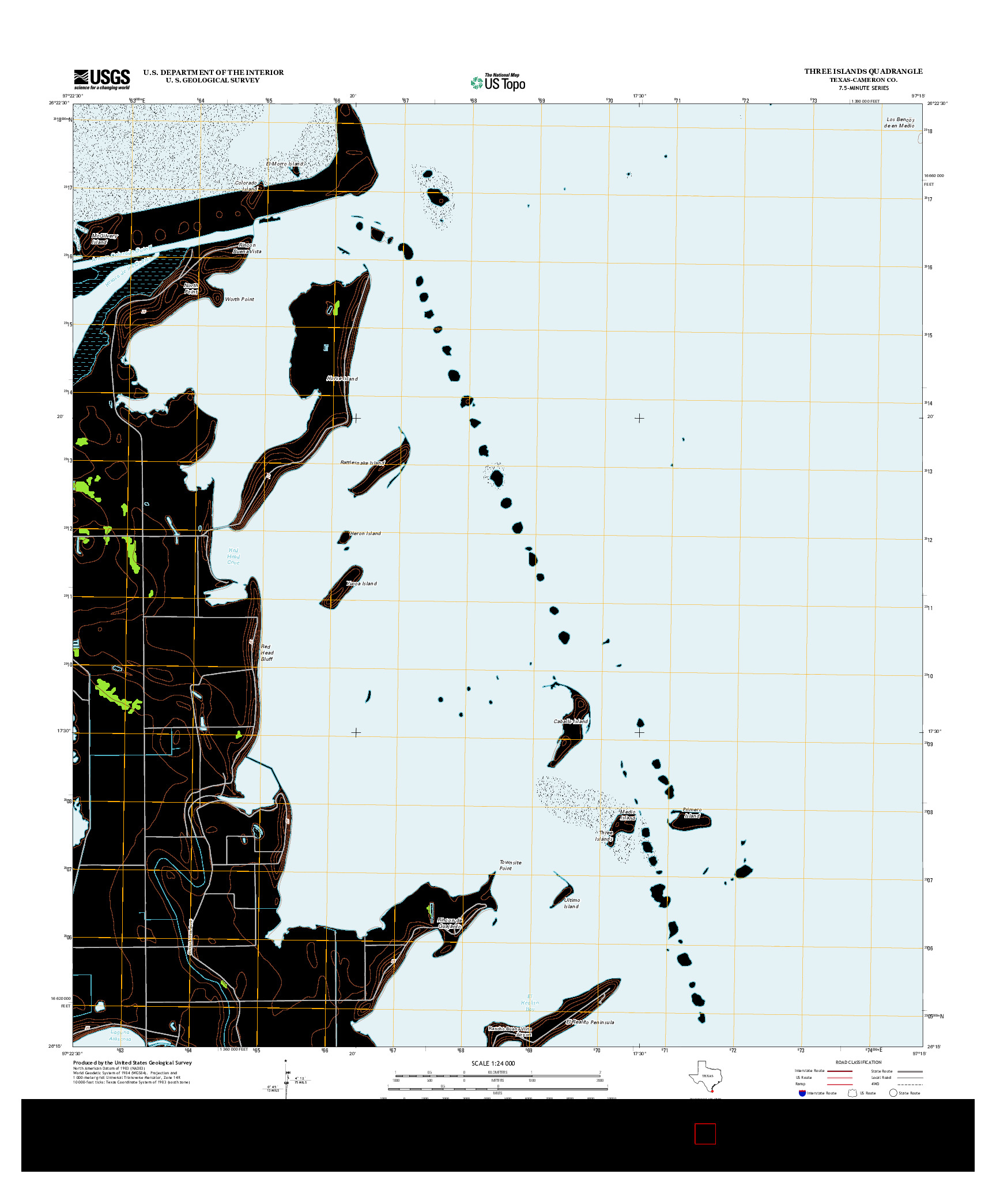 USGS US TOPO 7.5-MINUTE MAP FOR THREE ISLANDS, TX 2013