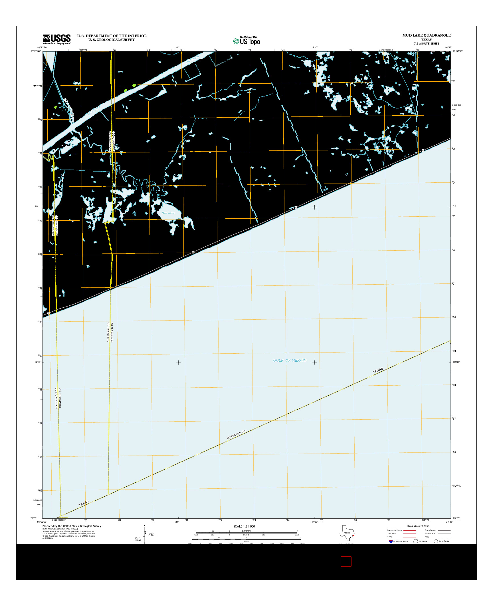 USGS US TOPO 7.5-MINUTE MAP FOR MUD LAKE, TX 2013