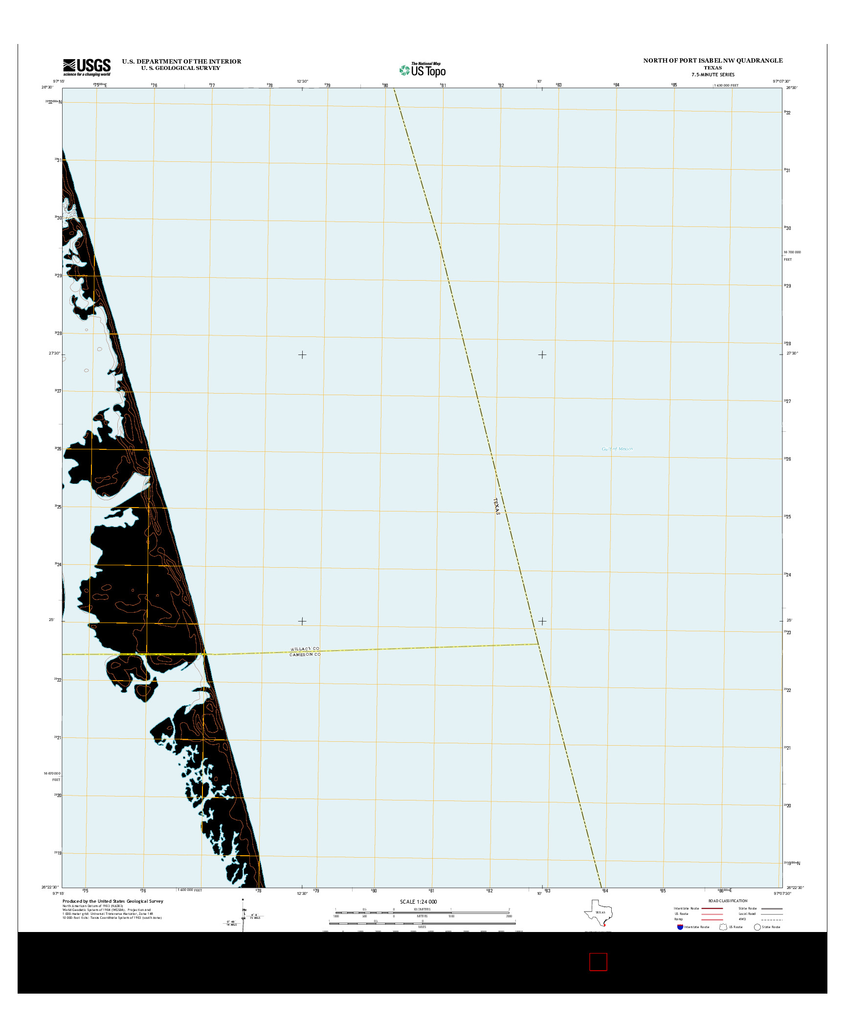 USGS US TOPO 7.5-MINUTE MAP FOR NORTH OF PORT ISABEL NW, TX 2013