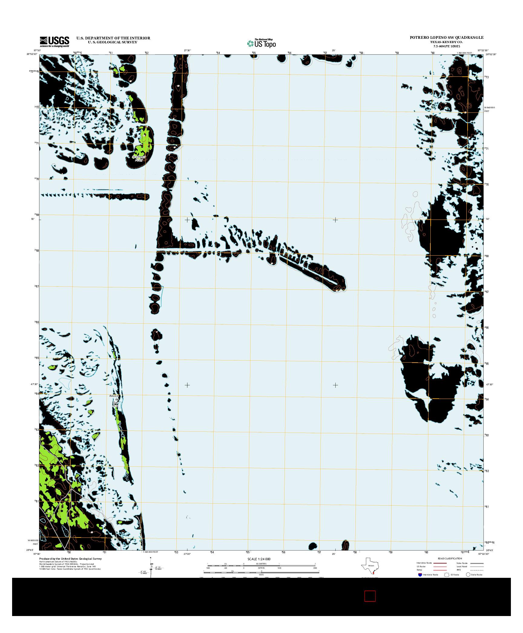 USGS US TOPO 7.5-MINUTE MAP FOR POTRERO LOPENO SW, TX 2013