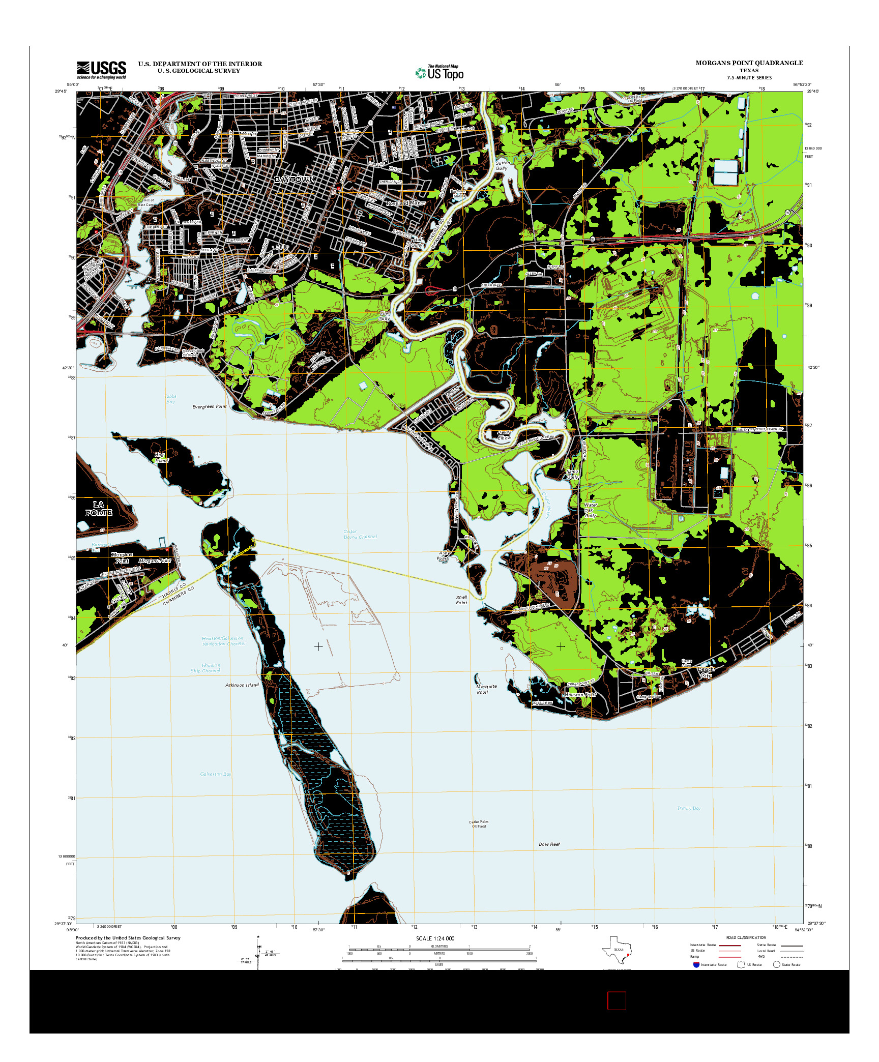 USGS US TOPO 7.5-MINUTE MAP FOR MORGANS POINT, TX 2013