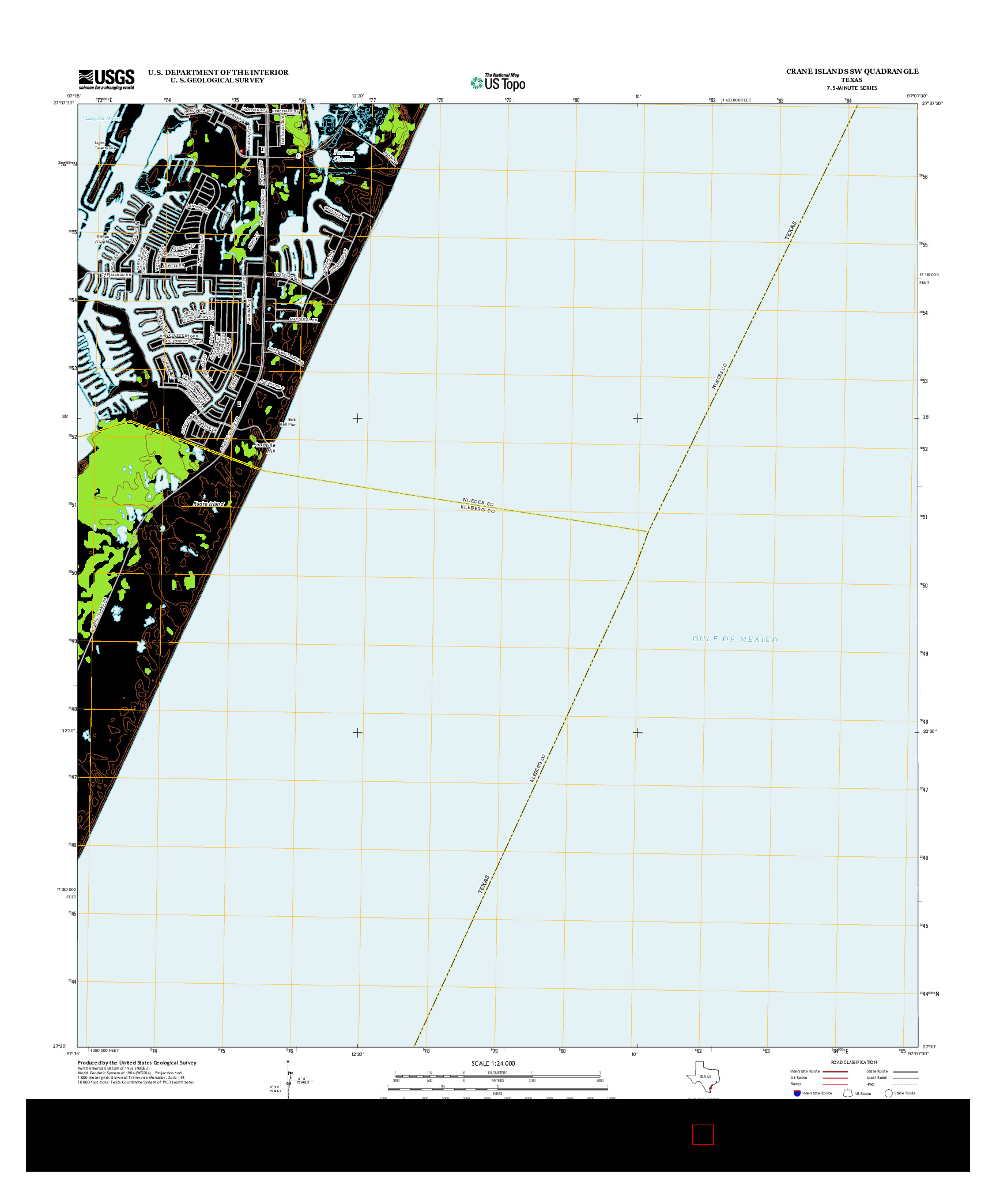 USGS US TOPO 7.5-MINUTE MAP FOR CRANE ISLANDS SW, TX 2013