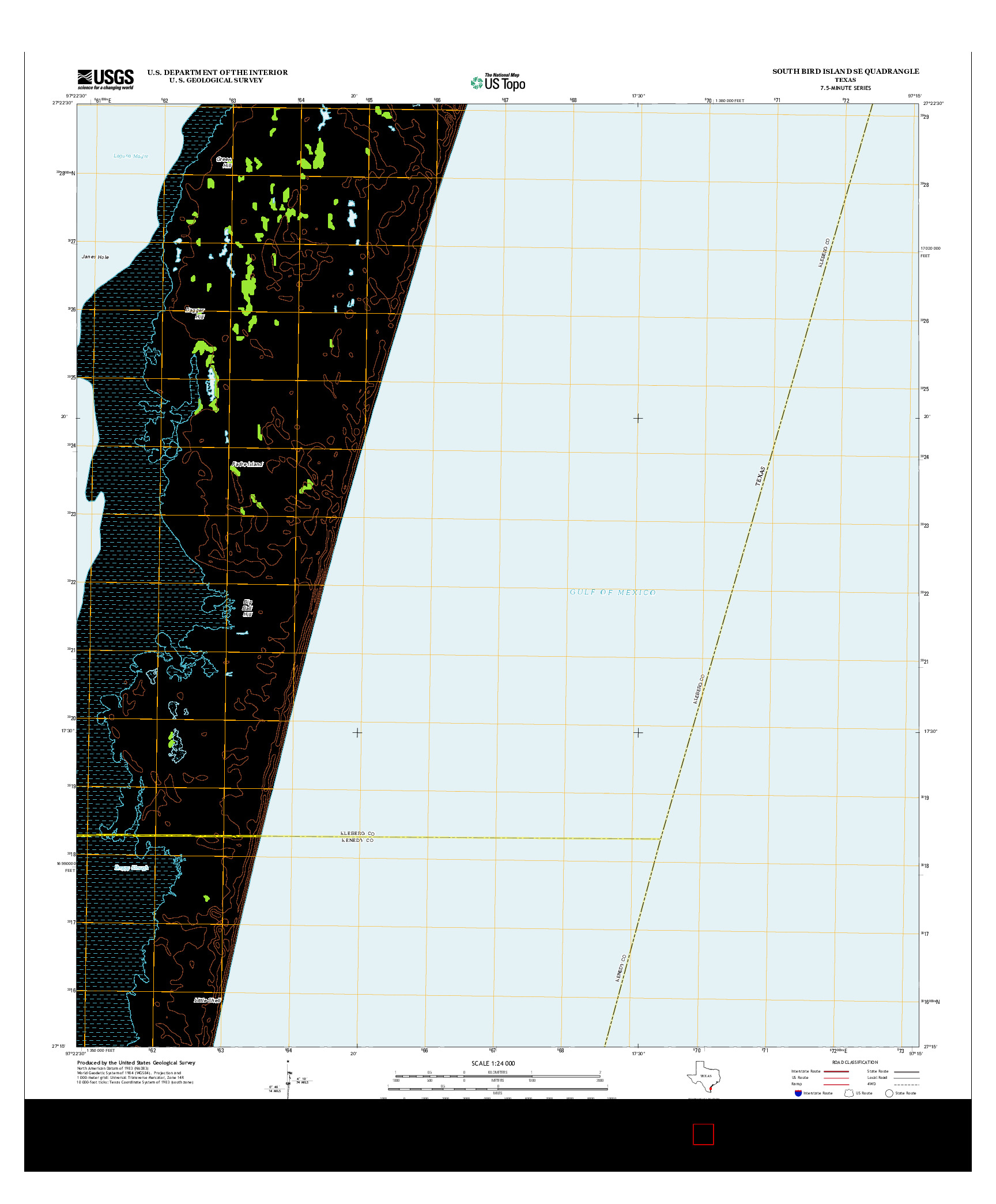USGS US TOPO 7.5-MINUTE MAP FOR SOUTH BIRD ISLAND SE, TX 2013