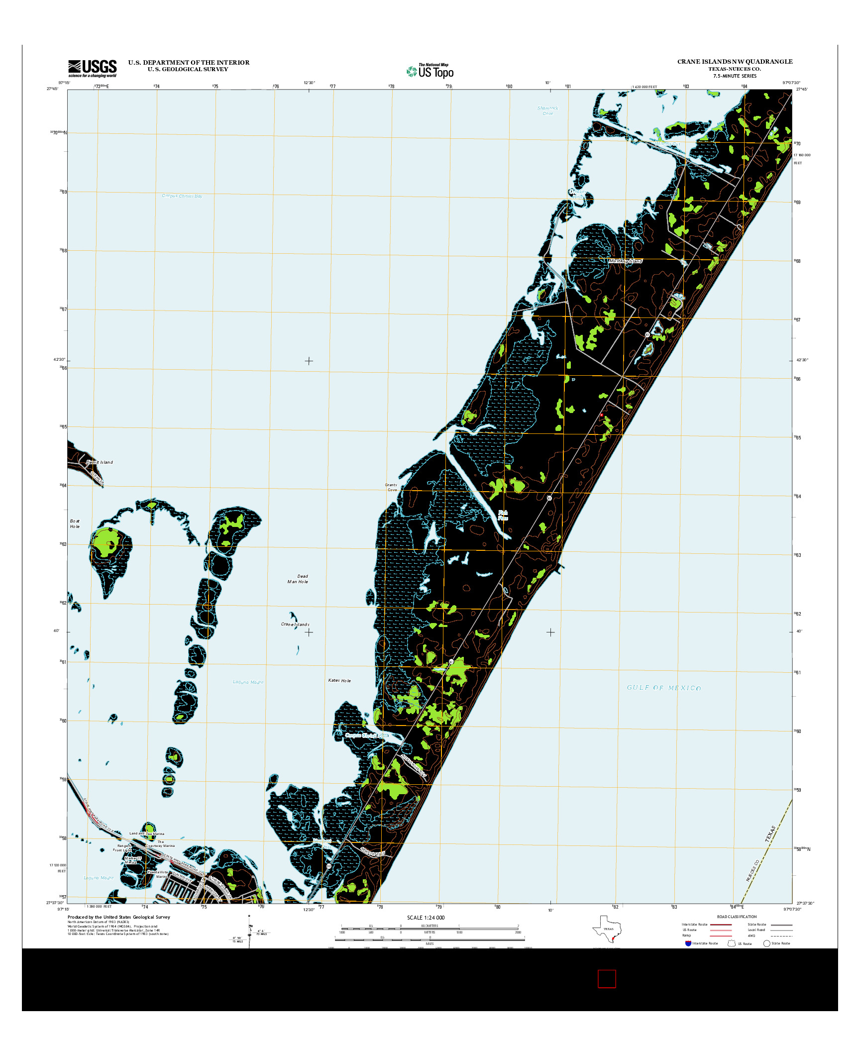 USGS US TOPO 7.5-MINUTE MAP FOR CRANE ISLANDS NW, TX 2013