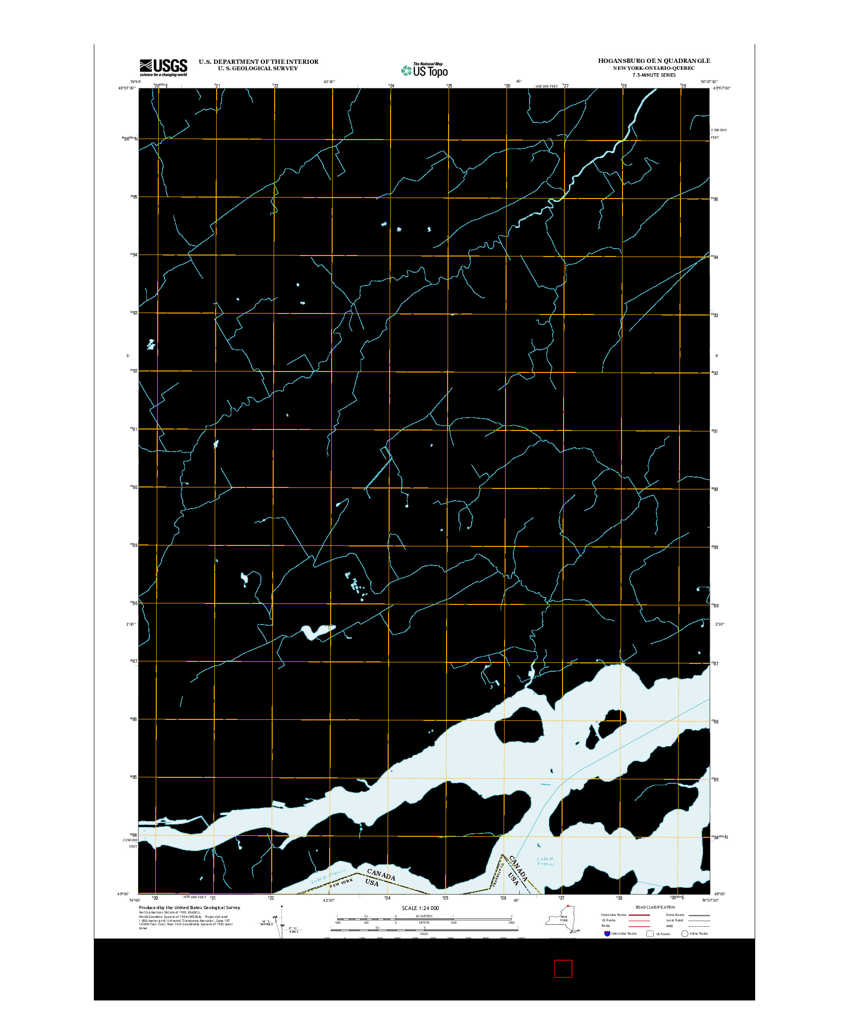 USGS US TOPO 7.5-MINUTE MAP FOR HOGANSBURG OE N, NY-ON-QC 2013