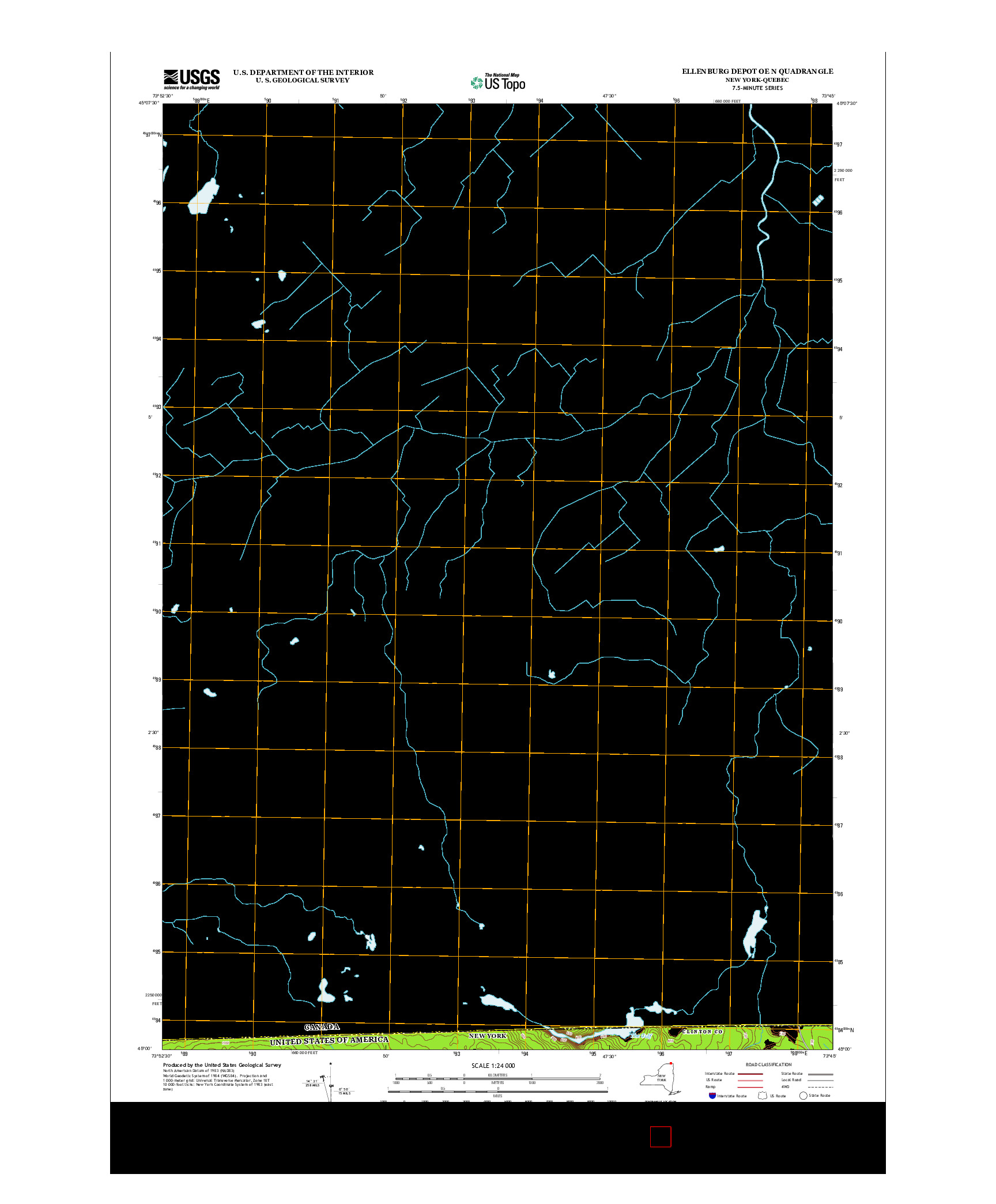 USGS US TOPO 7.5-MINUTE MAP FOR ELLENBURG DEPOT OE N, NY-QC 2013