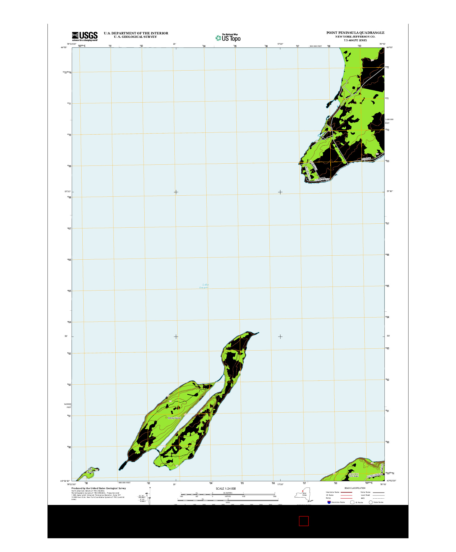 USGS US TOPO 7.5-MINUTE MAP FOR POINT PENINSULA, NY 2013