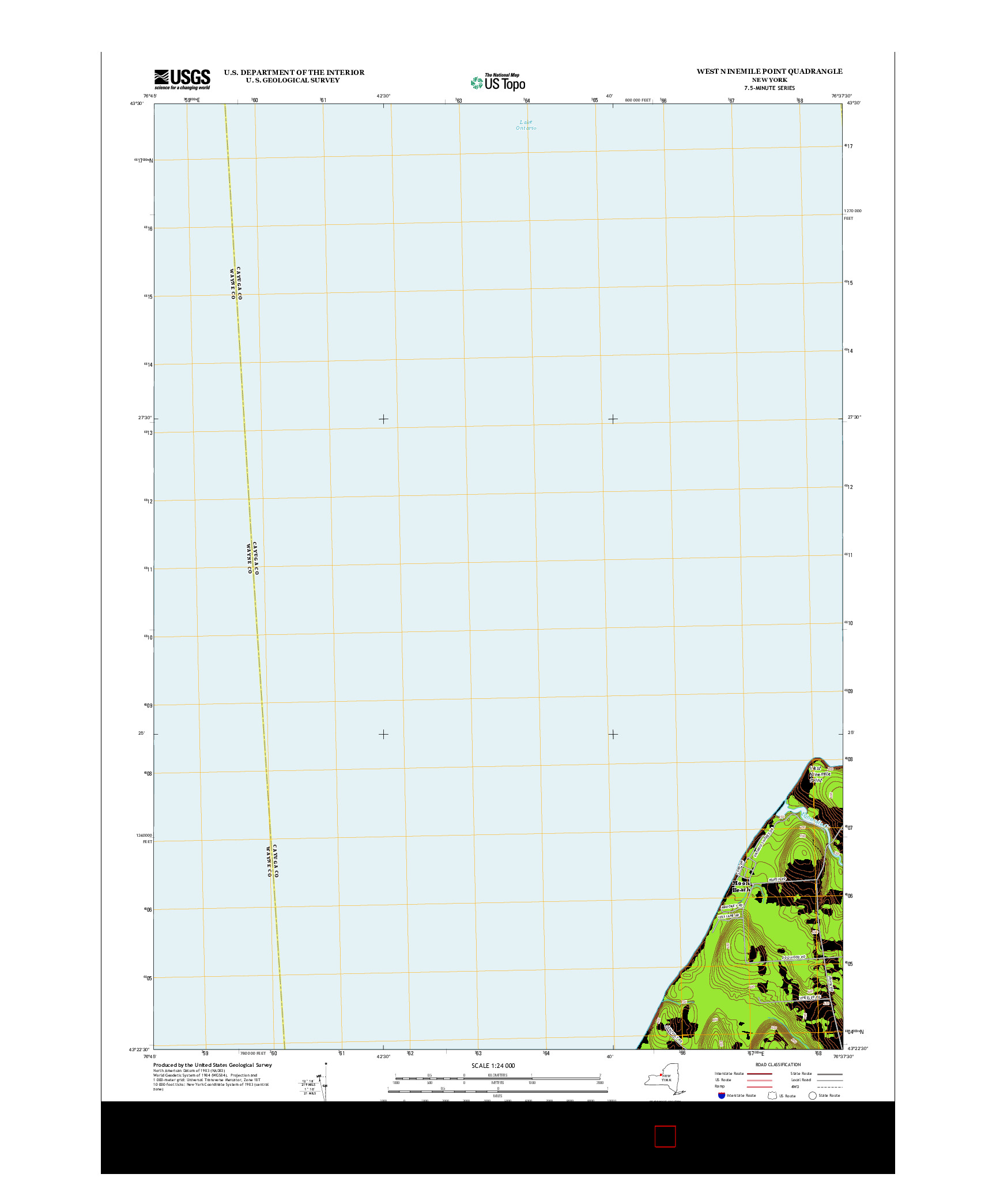 USGS US TOPO 7.5-MINUTE MAP FOR WEST NINEMILE POINT, NY 2013