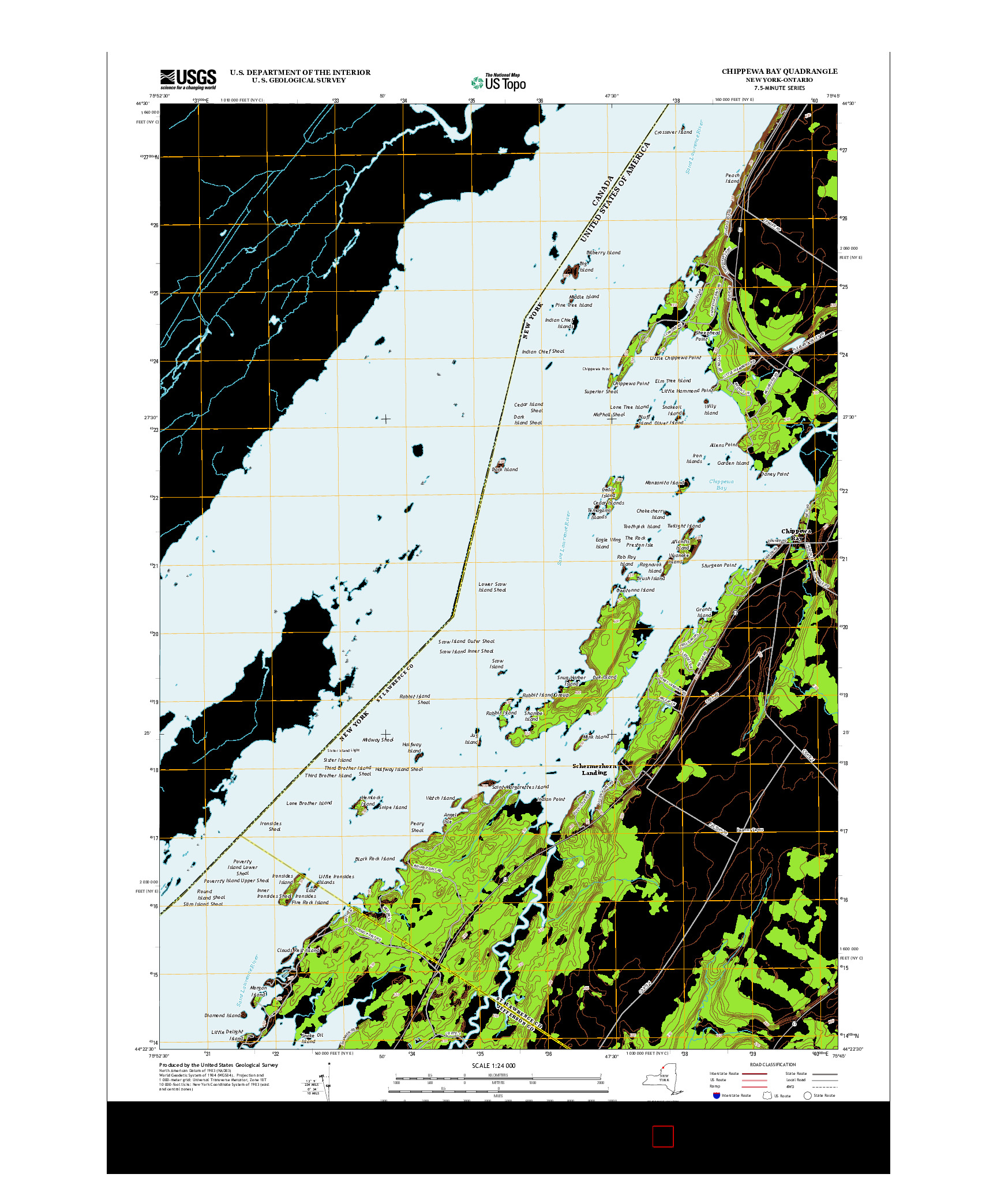 USGS US TOPO 7.5-MINUTE MAP FOR CHIPPEWA BAY, NY-ON 2013