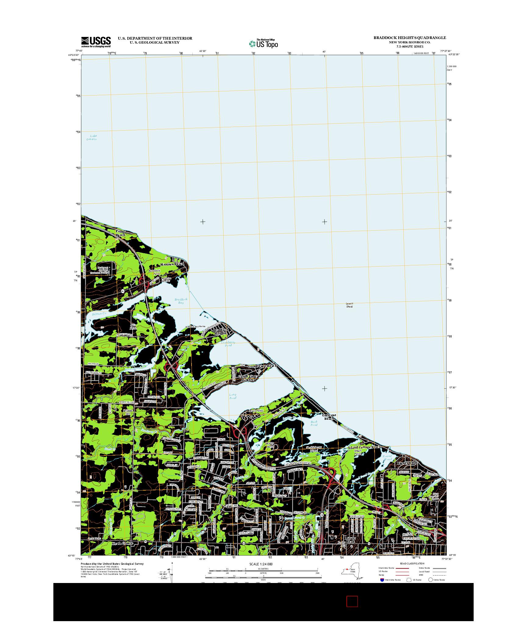 USGS US TOPO 7.5-MINUTE MAP FOR BRADDOCK HEIGHTS, NY 2013