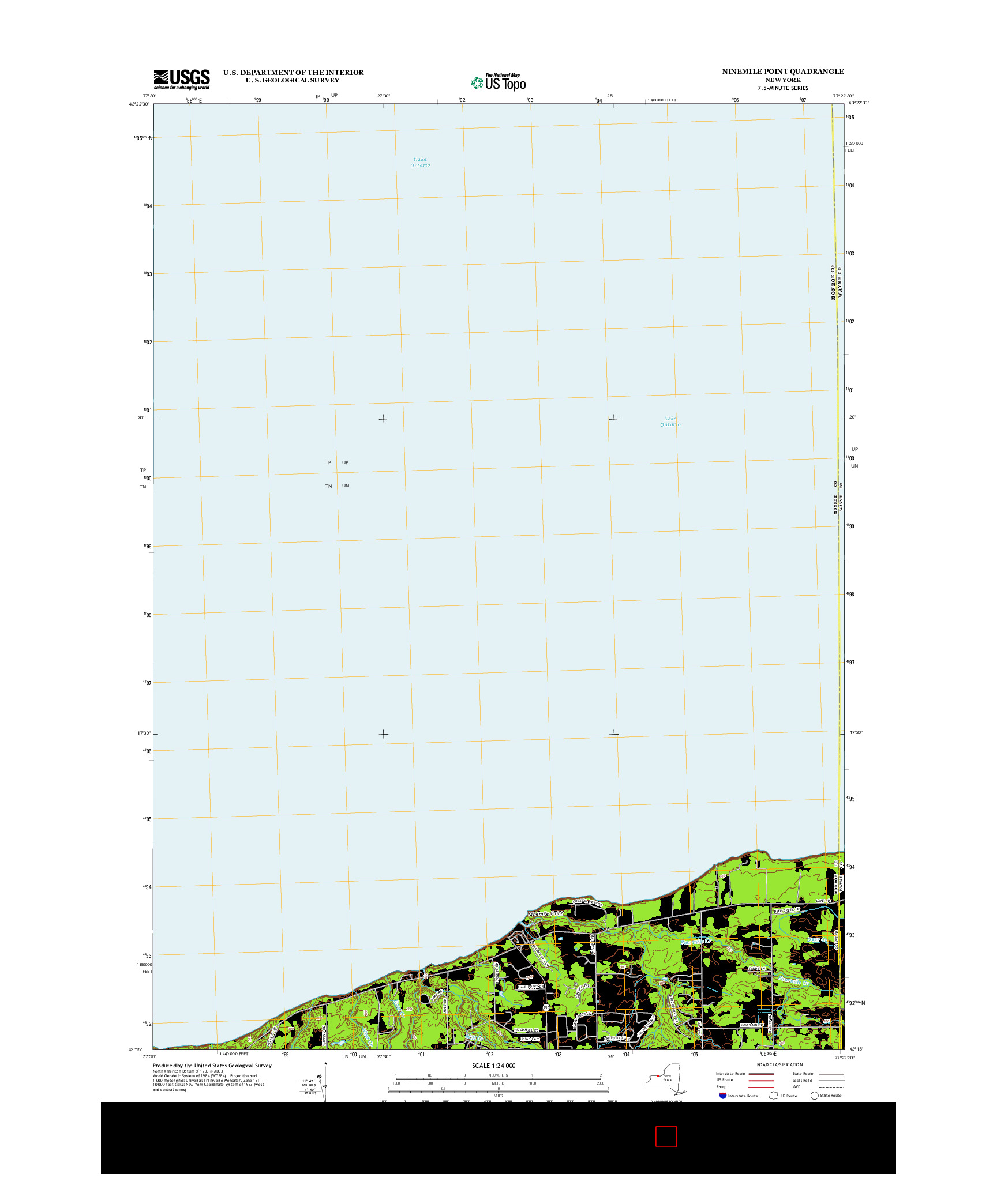 USGS US TOPO 7.5-MINUTE MAP FOR NINEMILE POINT, NY 2013