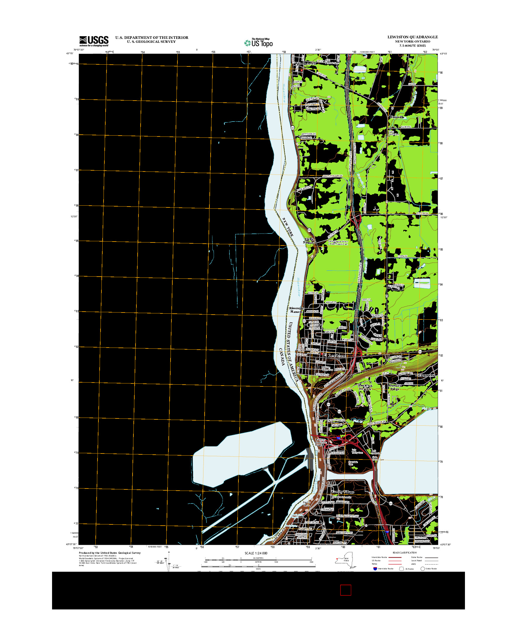 USGS US TOPO 7.5-MINUTE MAP FOR LEWISTON, NY-ON 2013