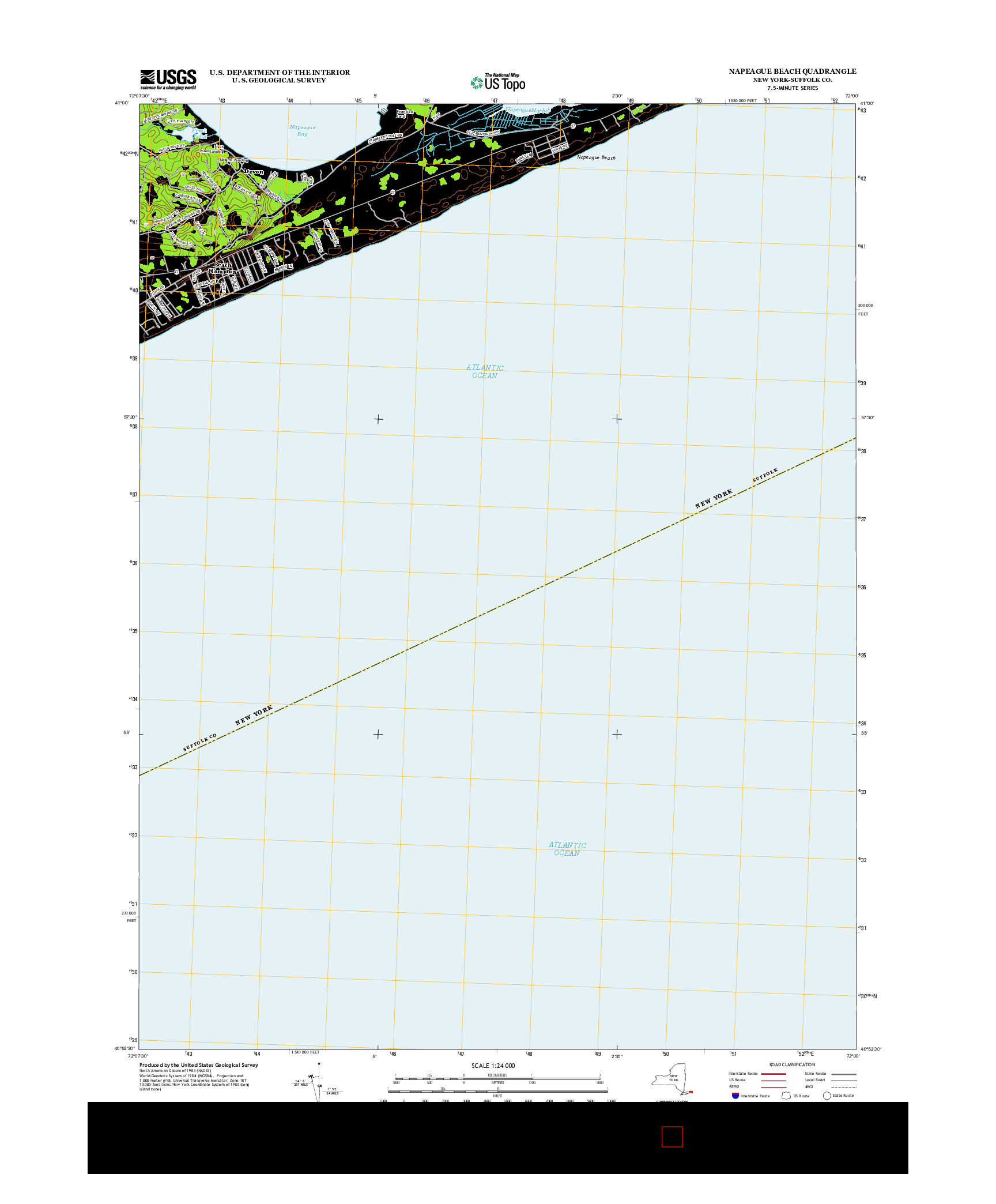 USGS US TOPO 7.5-MINUTE MAP FOR NAPEAGUE BEACH, NY 2013