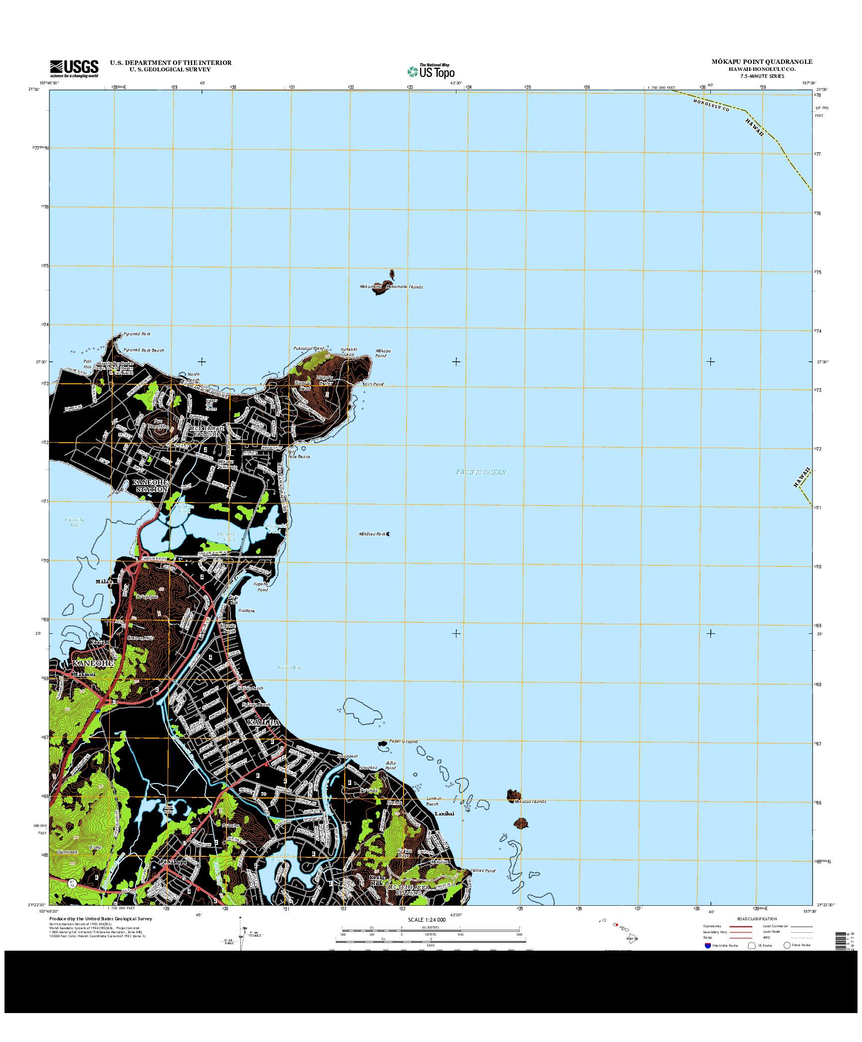 USGS US TOPO 7.5-MINUTE MAP FOR MOKAPU POINT, HI 2013