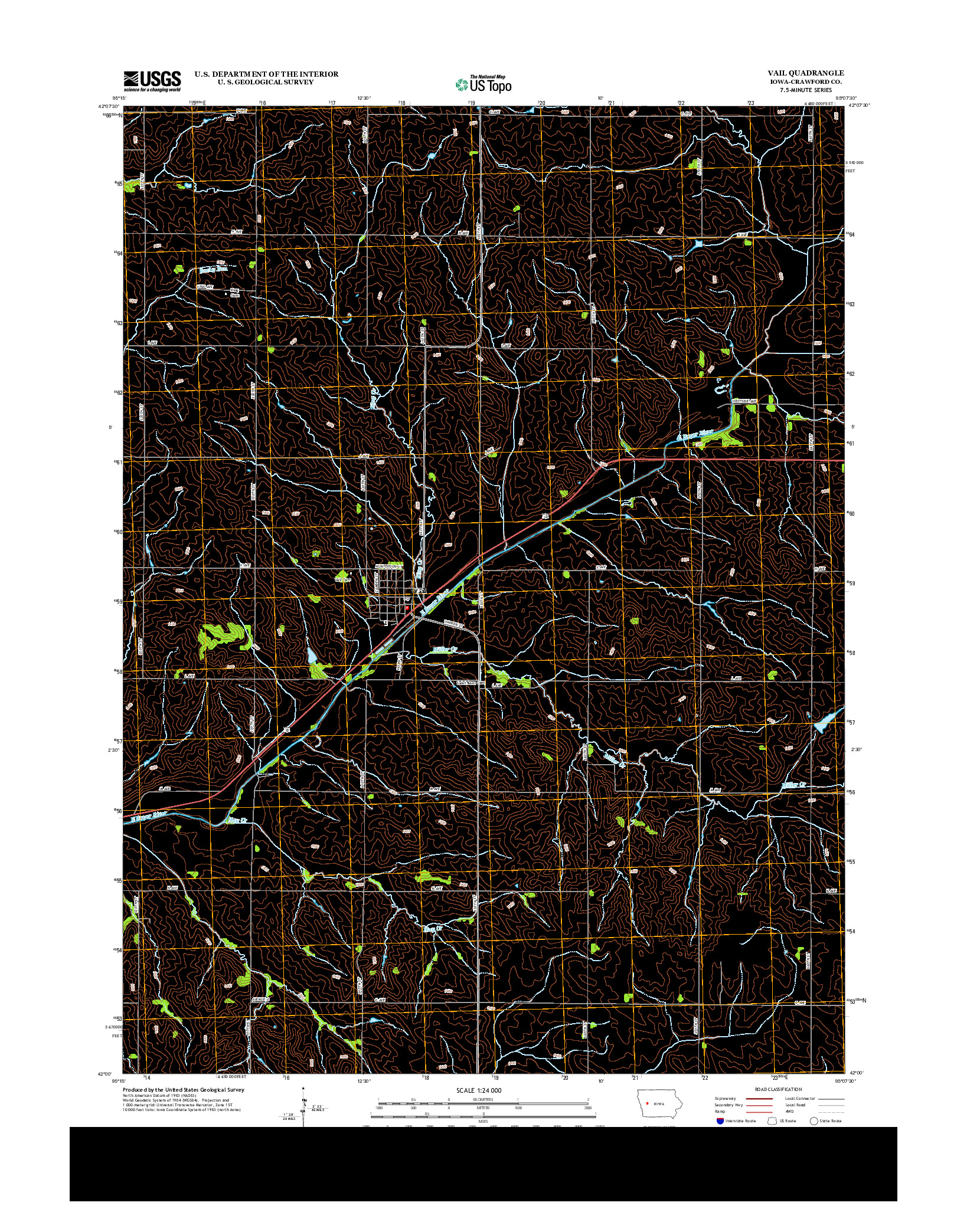 USGS US TOPO 7.5-MINUTE MAP FOR VAIL, IA 2013