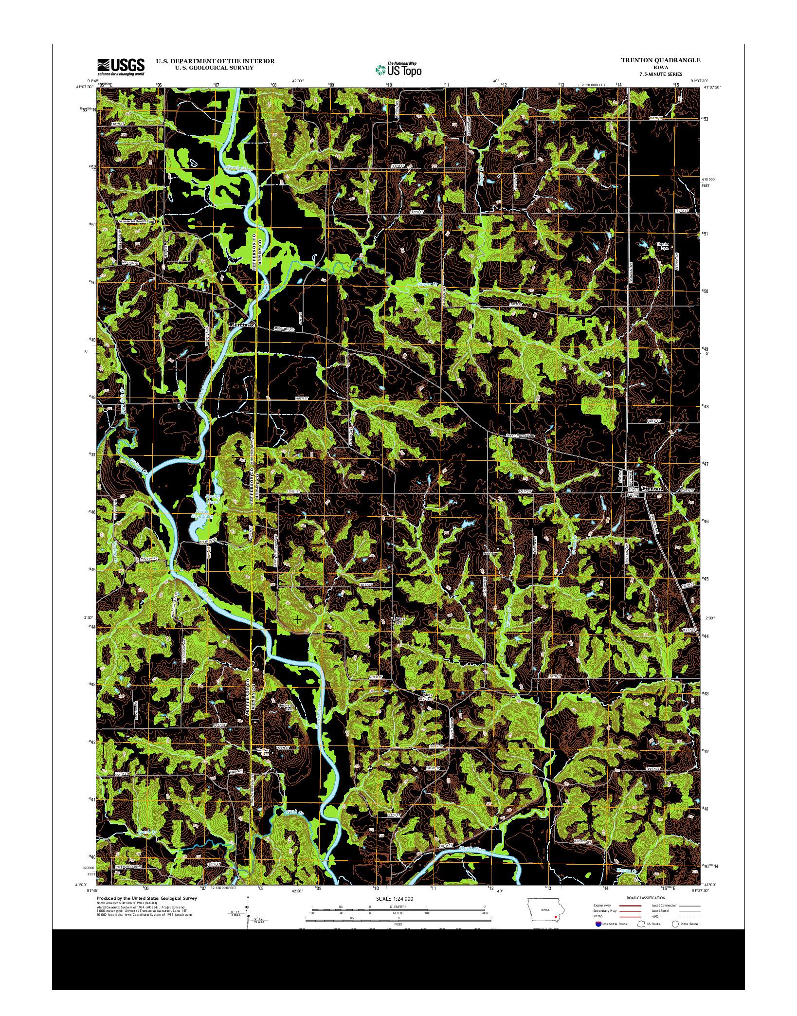 USGS US TOPO 7.5-MINUTE MAP FOR TRENTON, IA 2013