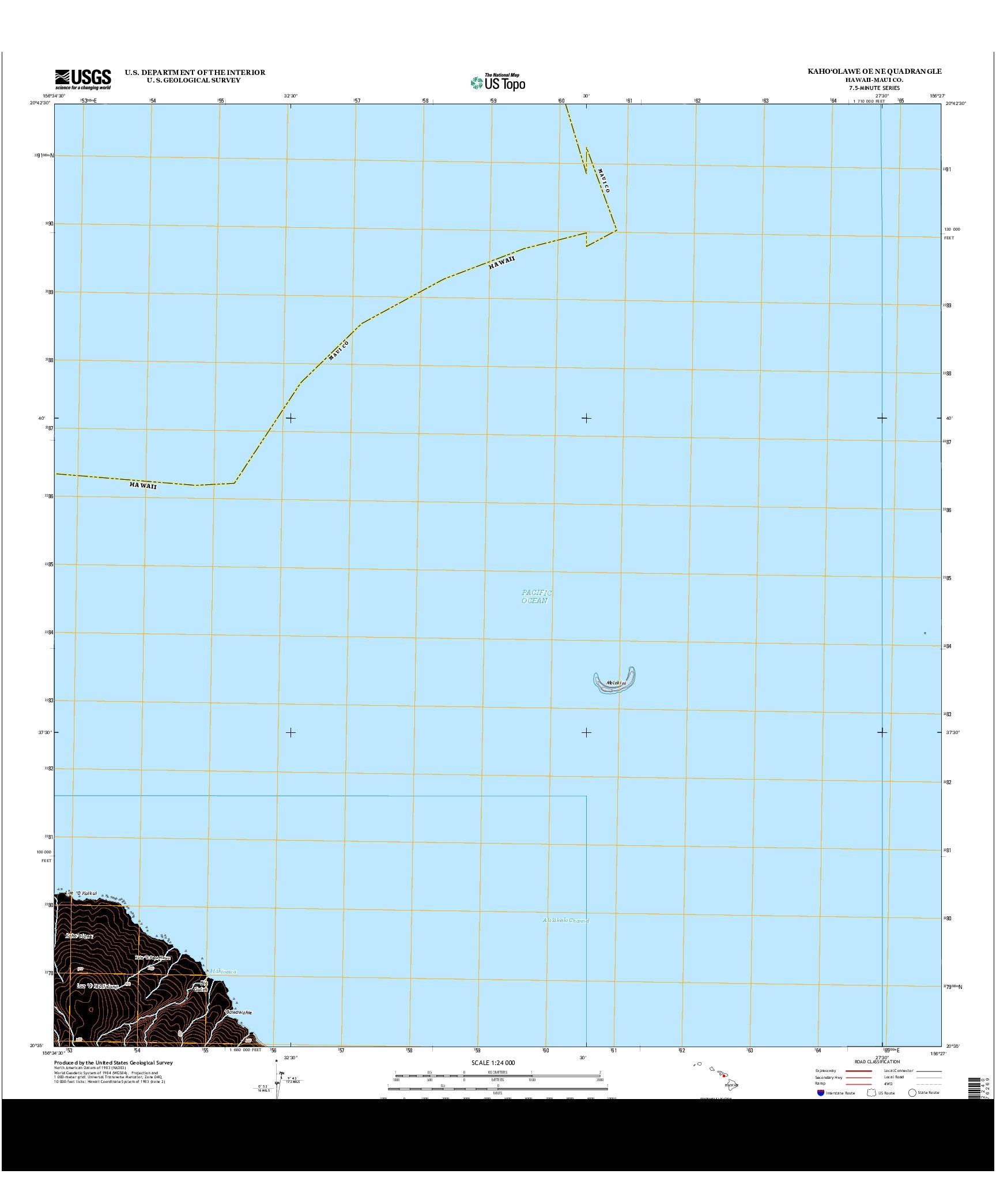 USGS US TOPO 7.5-MINUTE MAP FOR KAHO`OLAWE OE NE, HI 2013