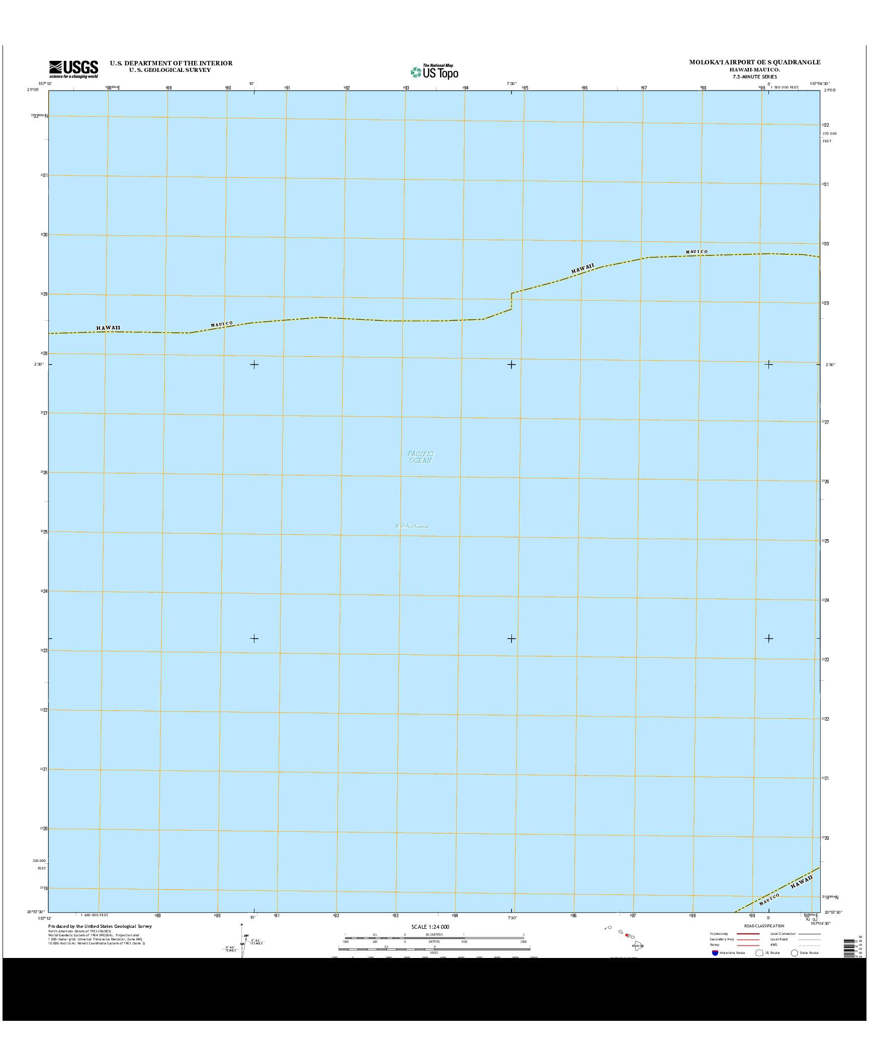 USGS US TOPO 7.5-MINUTE MAP FOR MOLOKA`I AIRPORT OE S, HI 2013