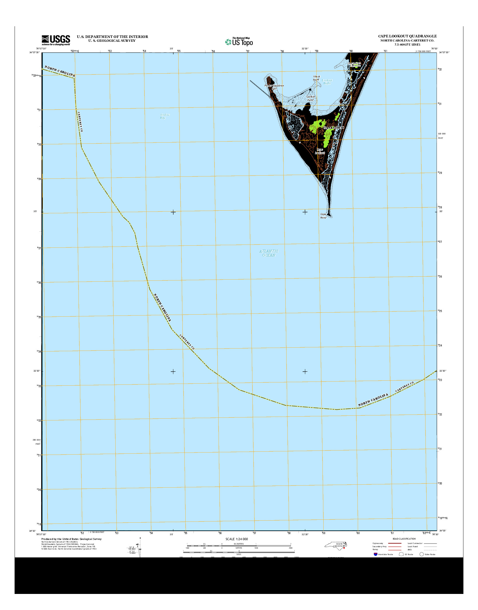 USGS US TOPO 7.5-MINUTE MAP FOR CAPE LOOKOUT, NC 2013