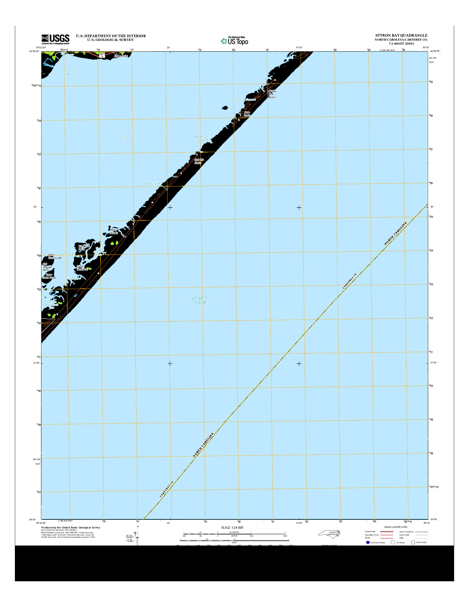 USGS US TOPO 7.5-MINUTE MAP FOR STYRON BAY, NC 2013