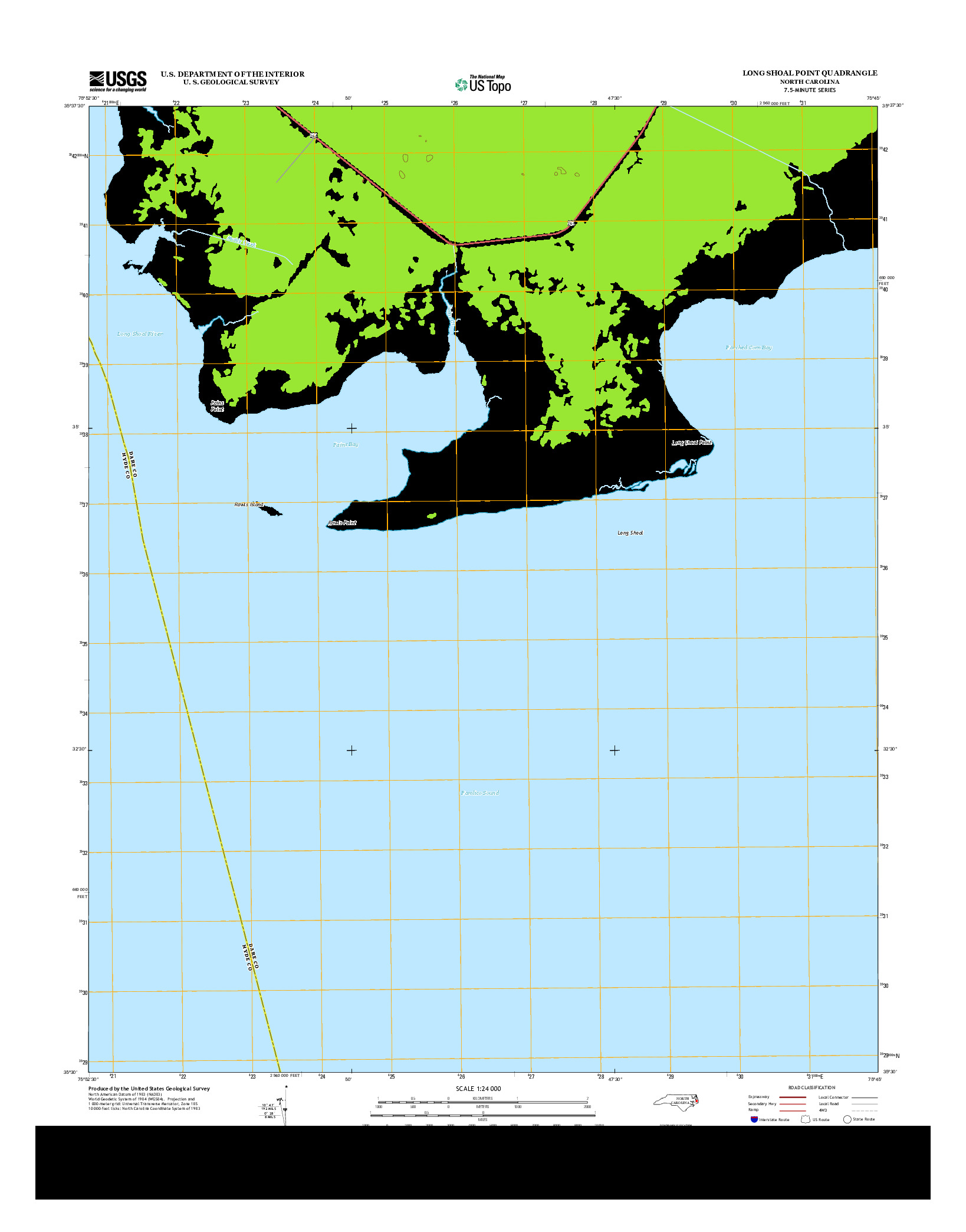 USGS US TOPO 7.5-MINUTE MAP FOR LONG SHOAL POINT, NC 2013