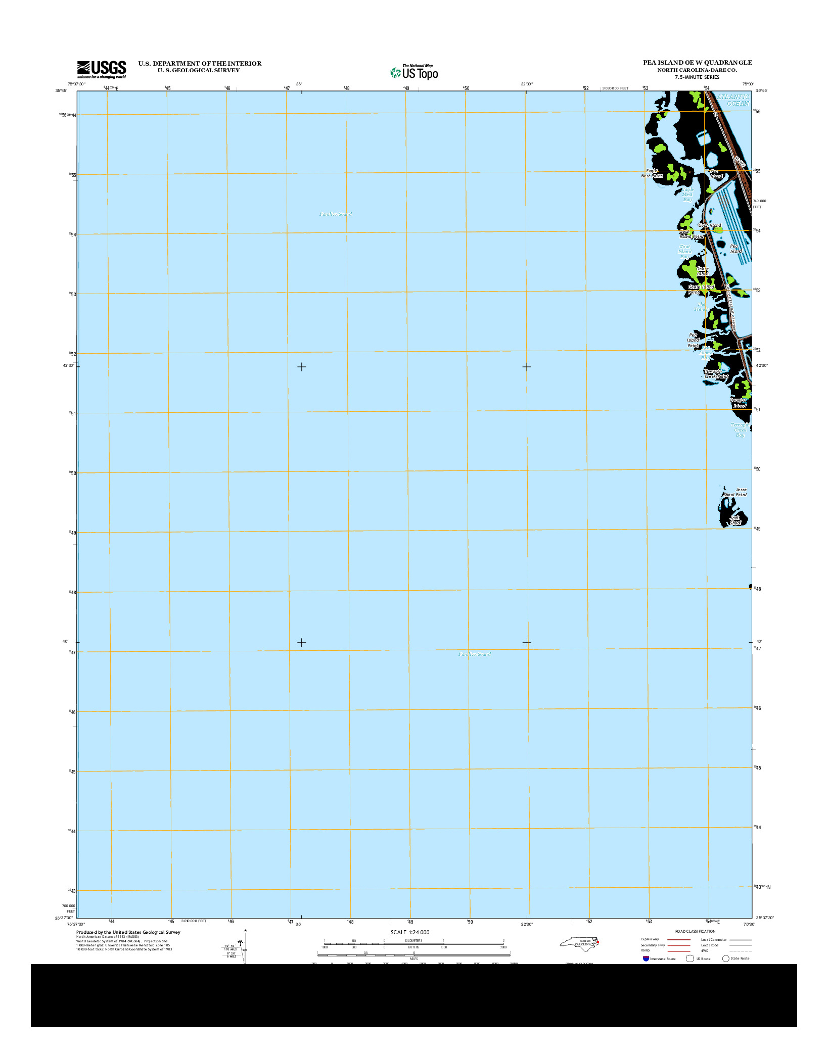 USGS US TOPO 7.5-MINUTE MAP FOR PEA ISLAND OE W, NC 2013