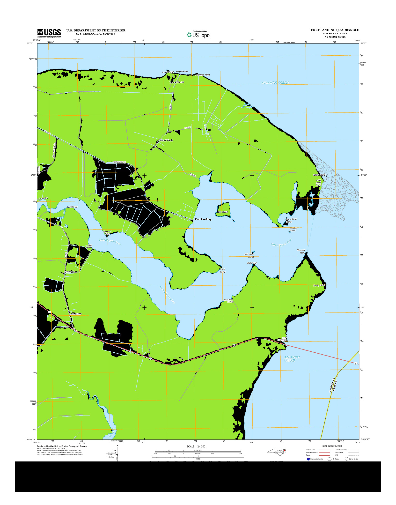USGS US TOPO 7.5-MINUTE MAP FOR FORT LANDING, NC 2013