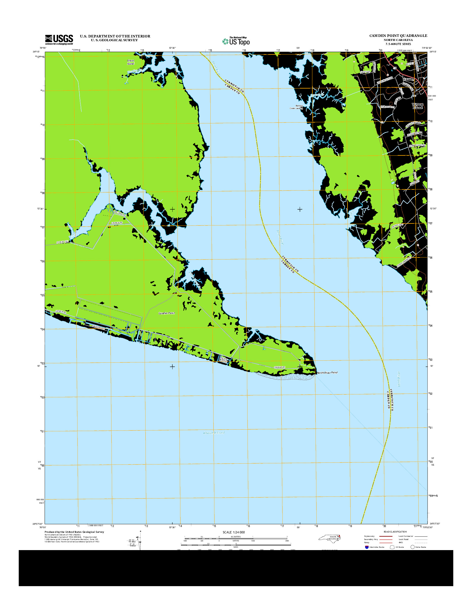 USGS US TOPO 7.5-MINUTE MAP FOR CAMDEN POINT, NC 2013